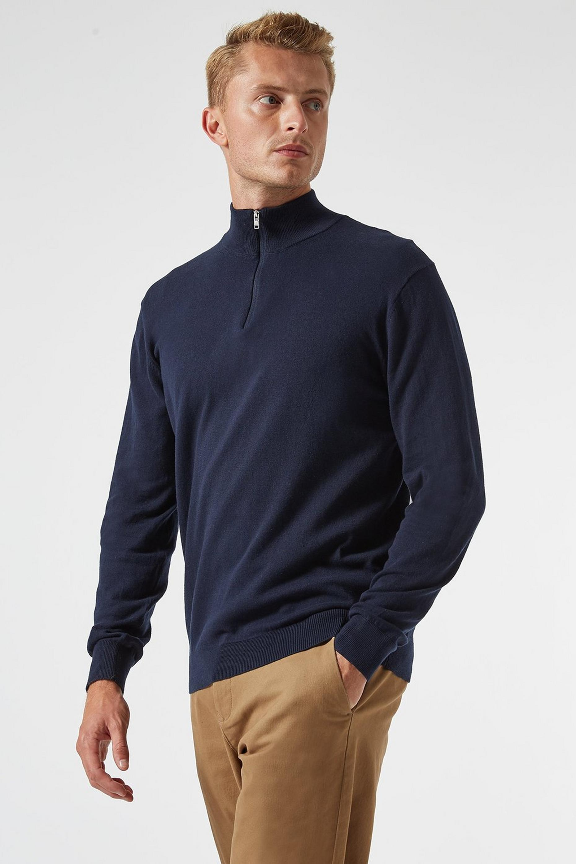 Navy Half Zip Jumper with Organic Cotton