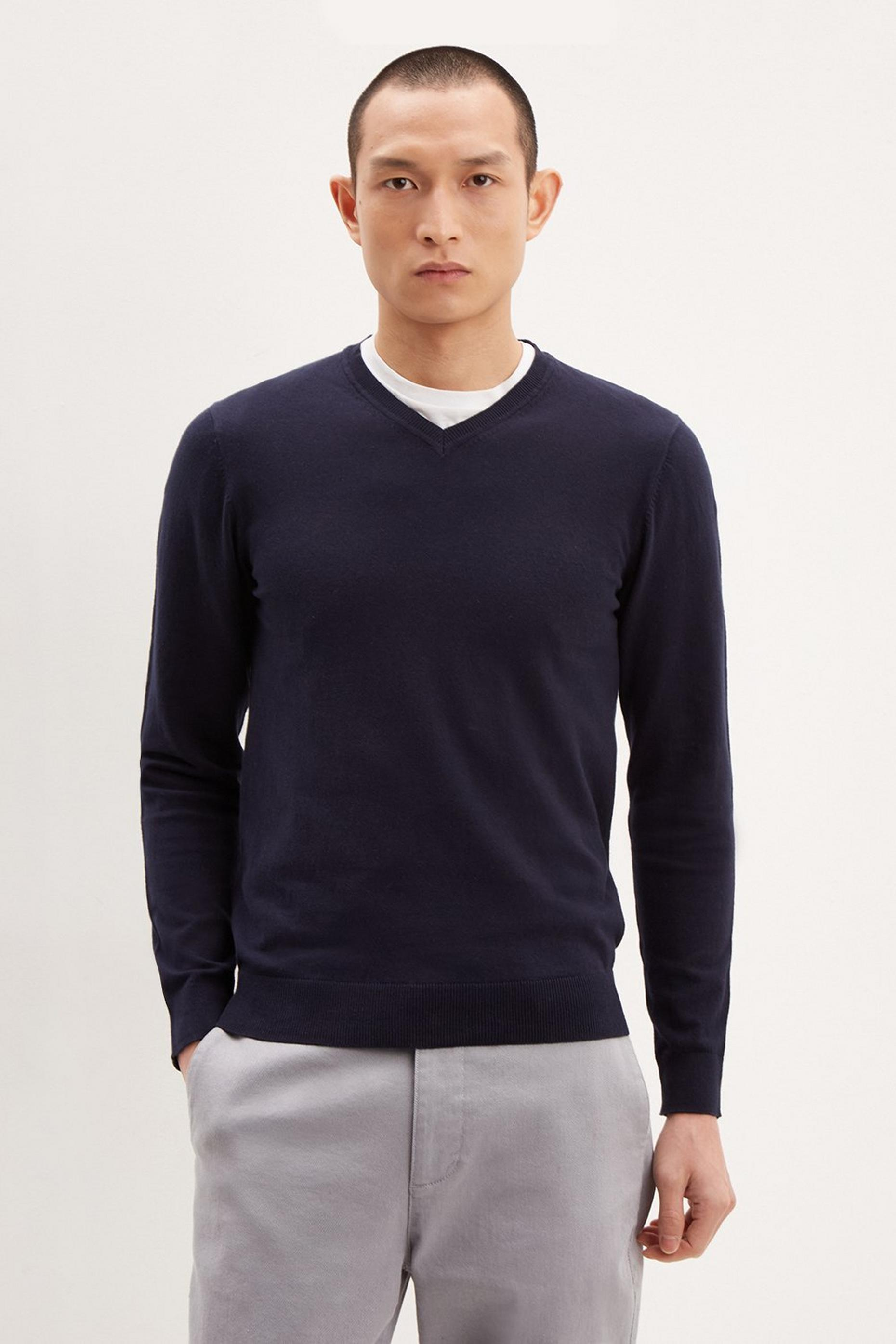 Navy V Neck Jumper With Organic Cotton