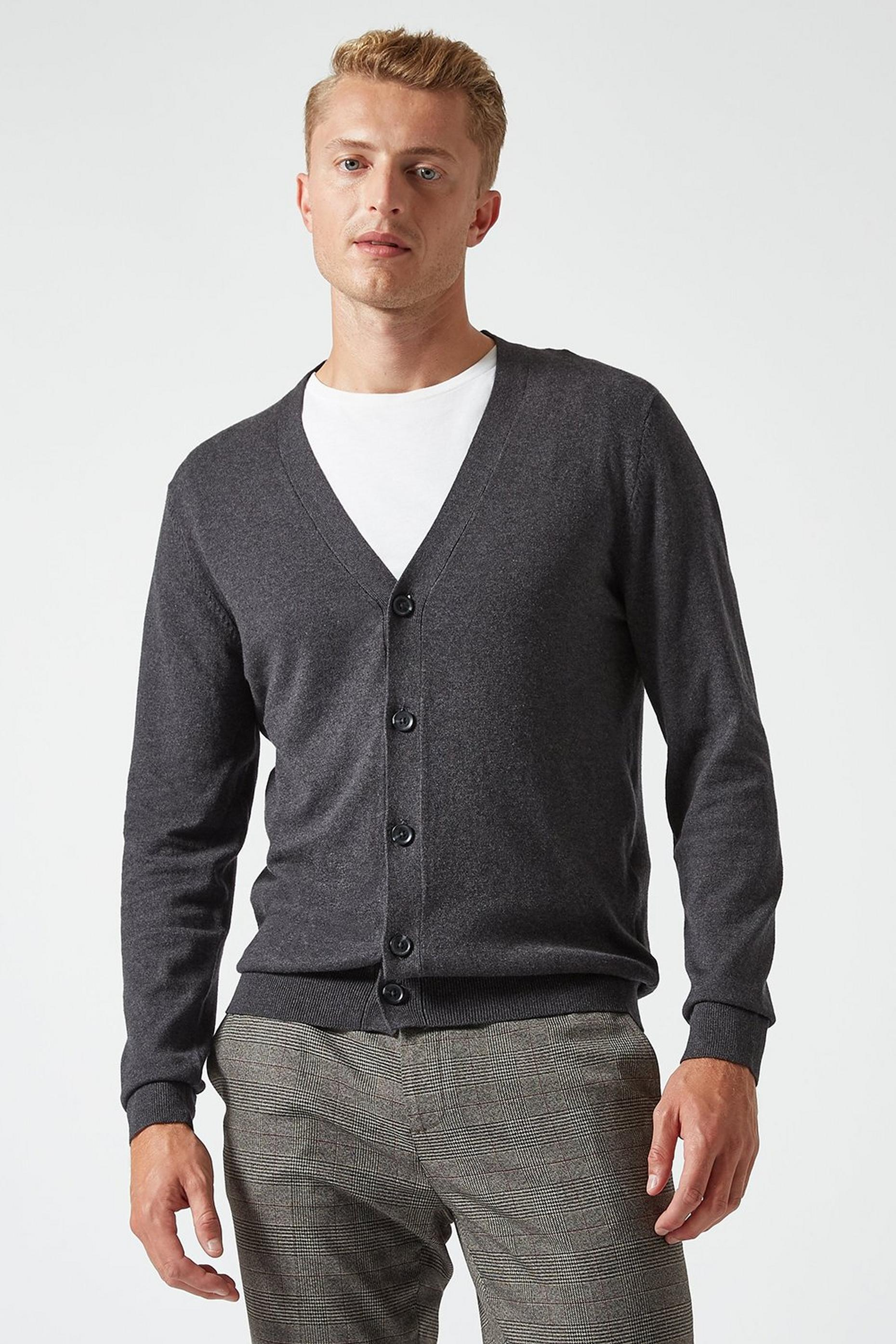 Charcoal Grey Cardigan with Organic Cotton