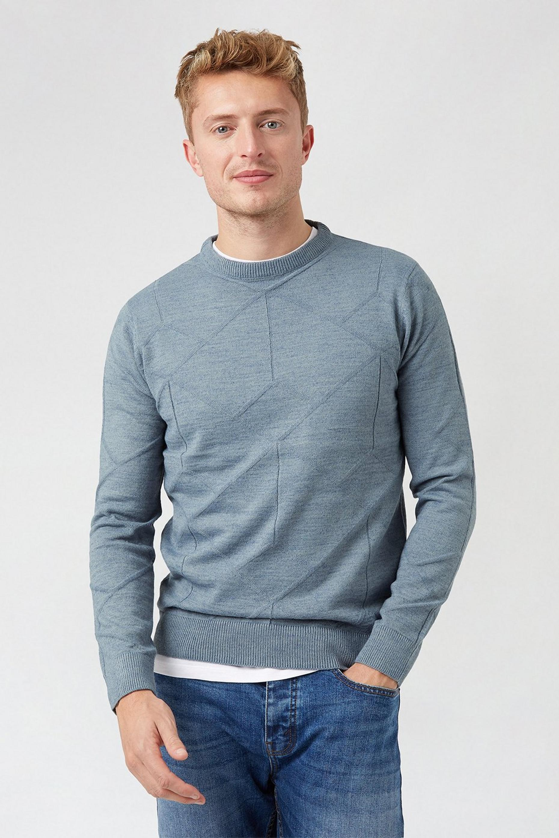 Blue Diamond Crew Neck Jumper