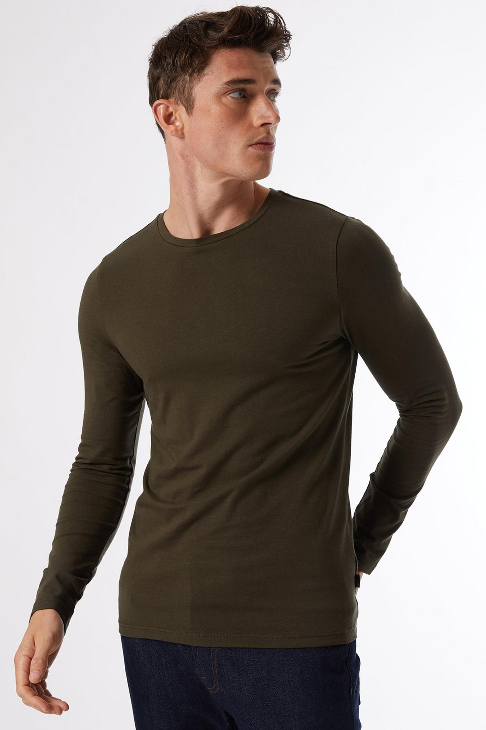Dark Khaki Long Sleeved Muscle Fit TShirt
