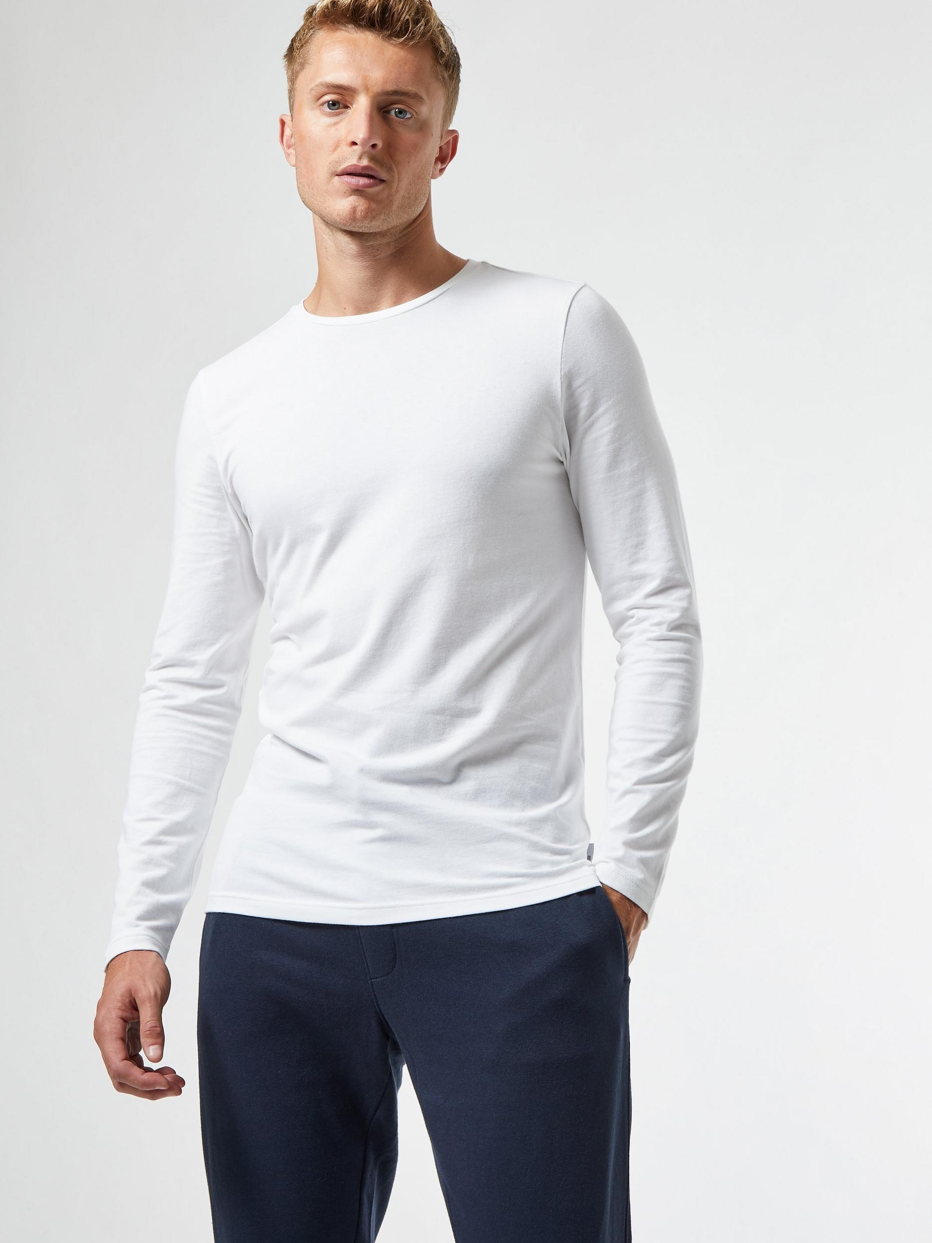 White Long Sleeved Muscle Fit TShirt