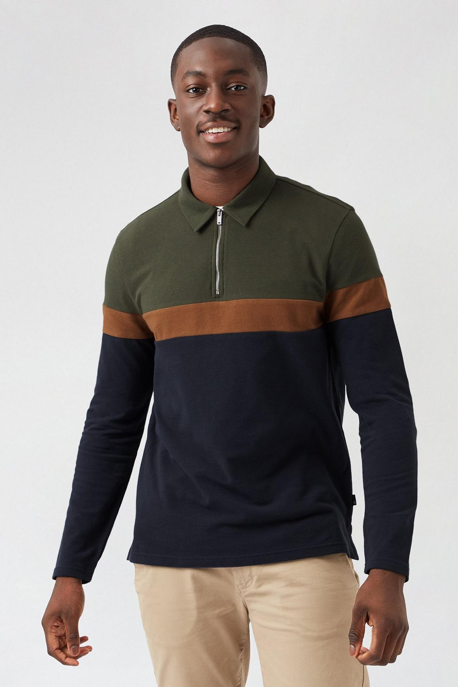 Khaki Cut and Sew Long Sleeved Polo Shirt