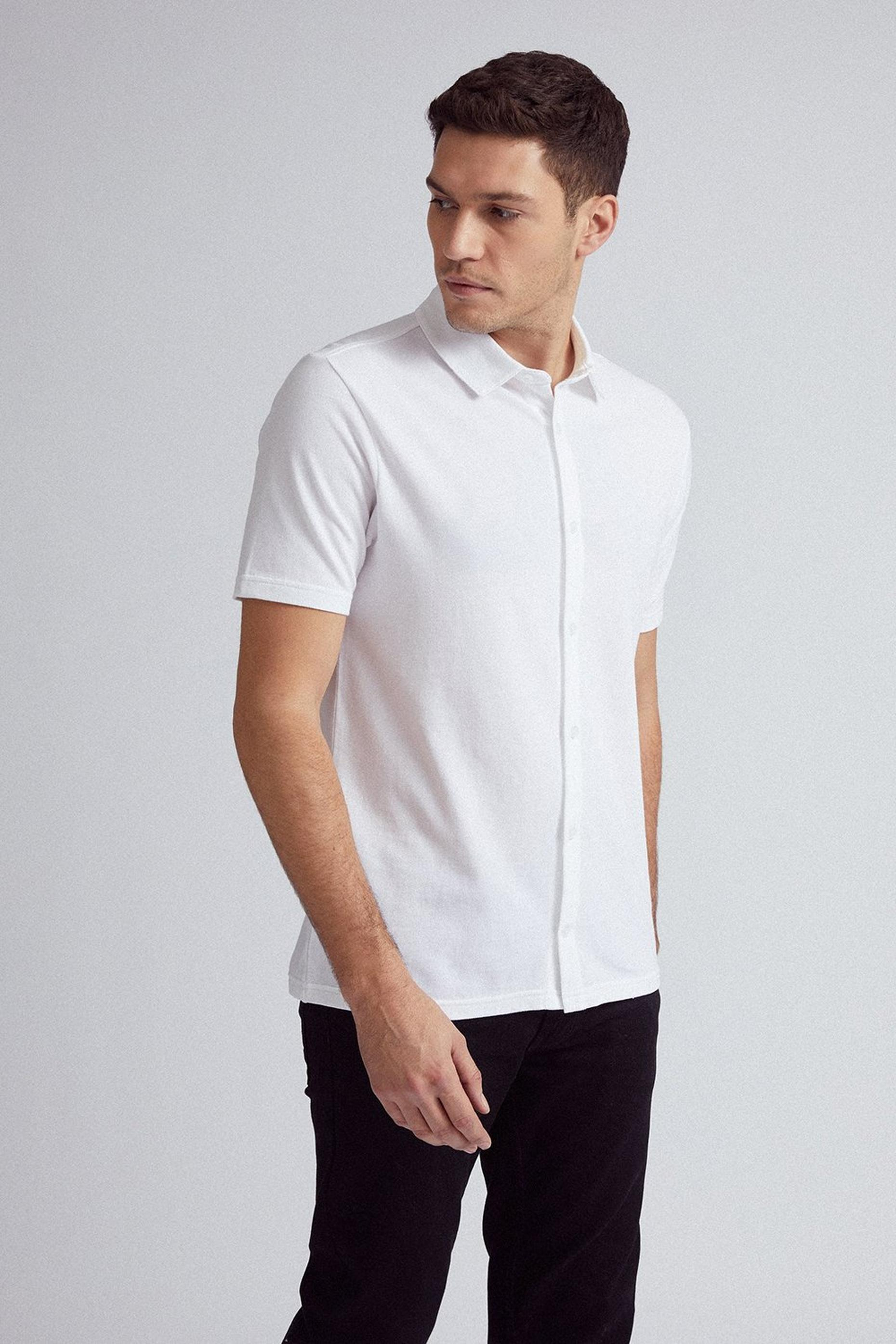 White Short Sleeve Pique Shirt