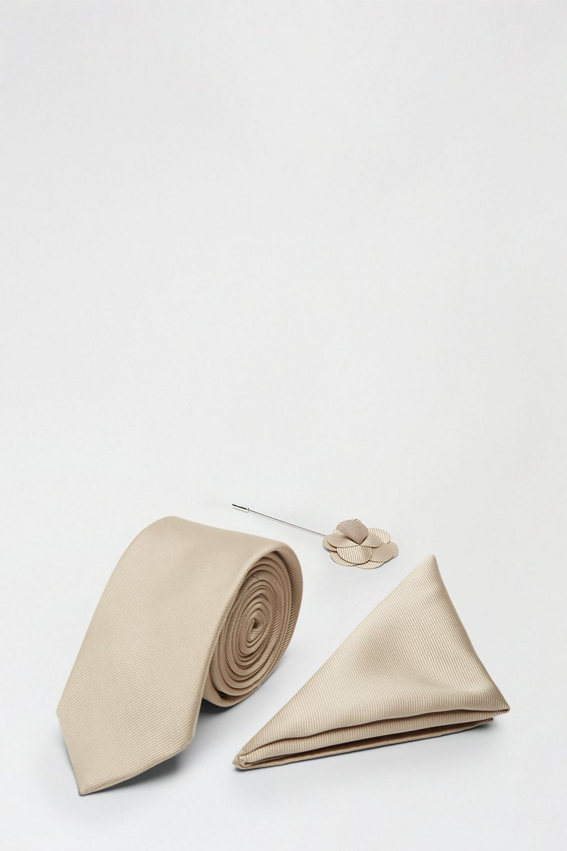 Neutral Tie Pocket Square And Pin