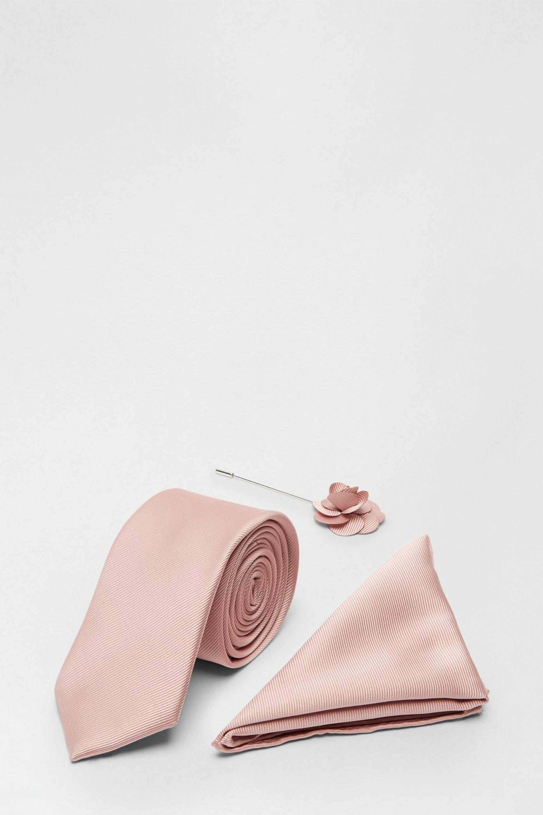 Pink Tie Matching Pocket Square And Pin