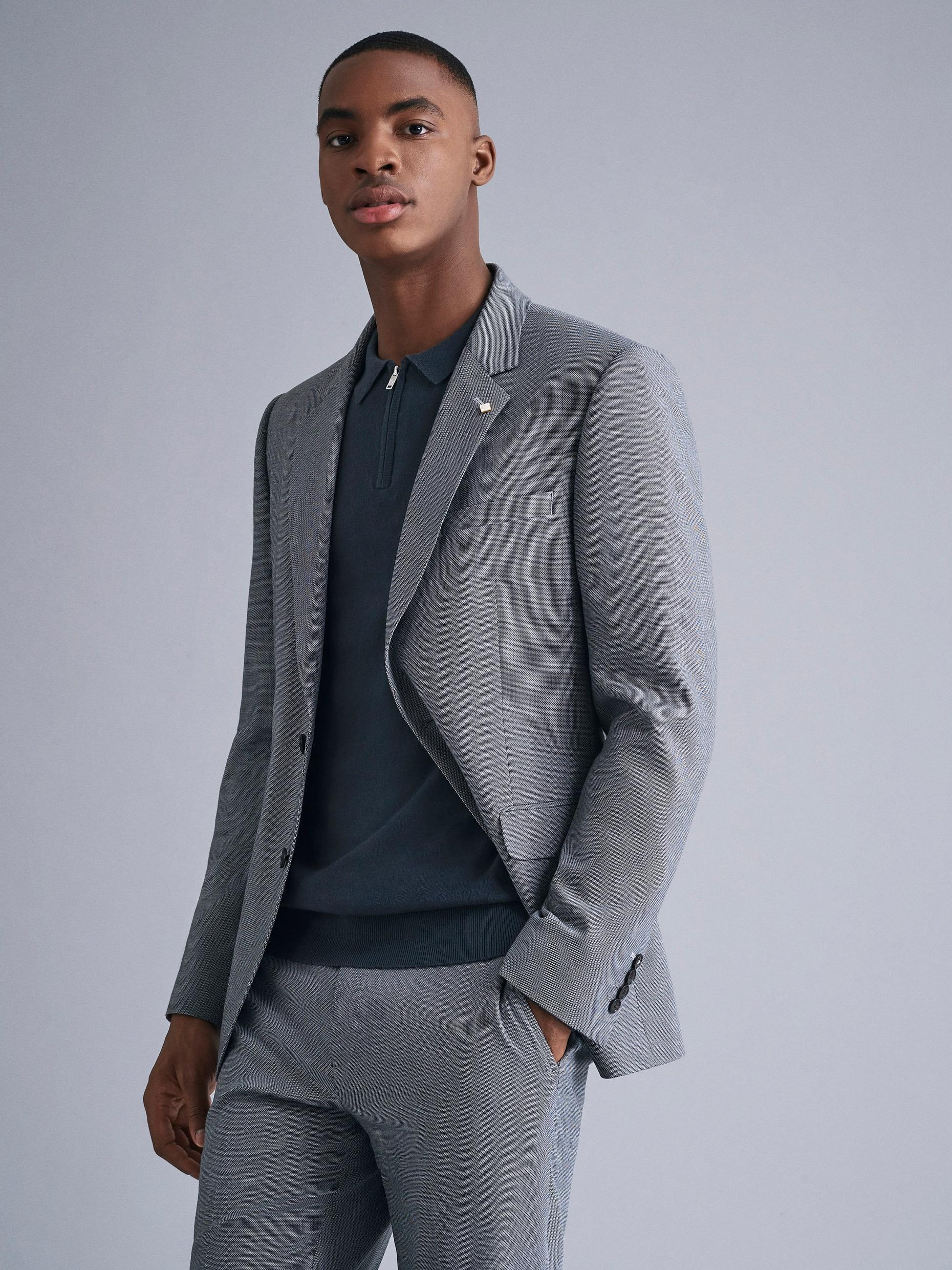 Grey Micro Texture Skinny Fit Suit Jacket