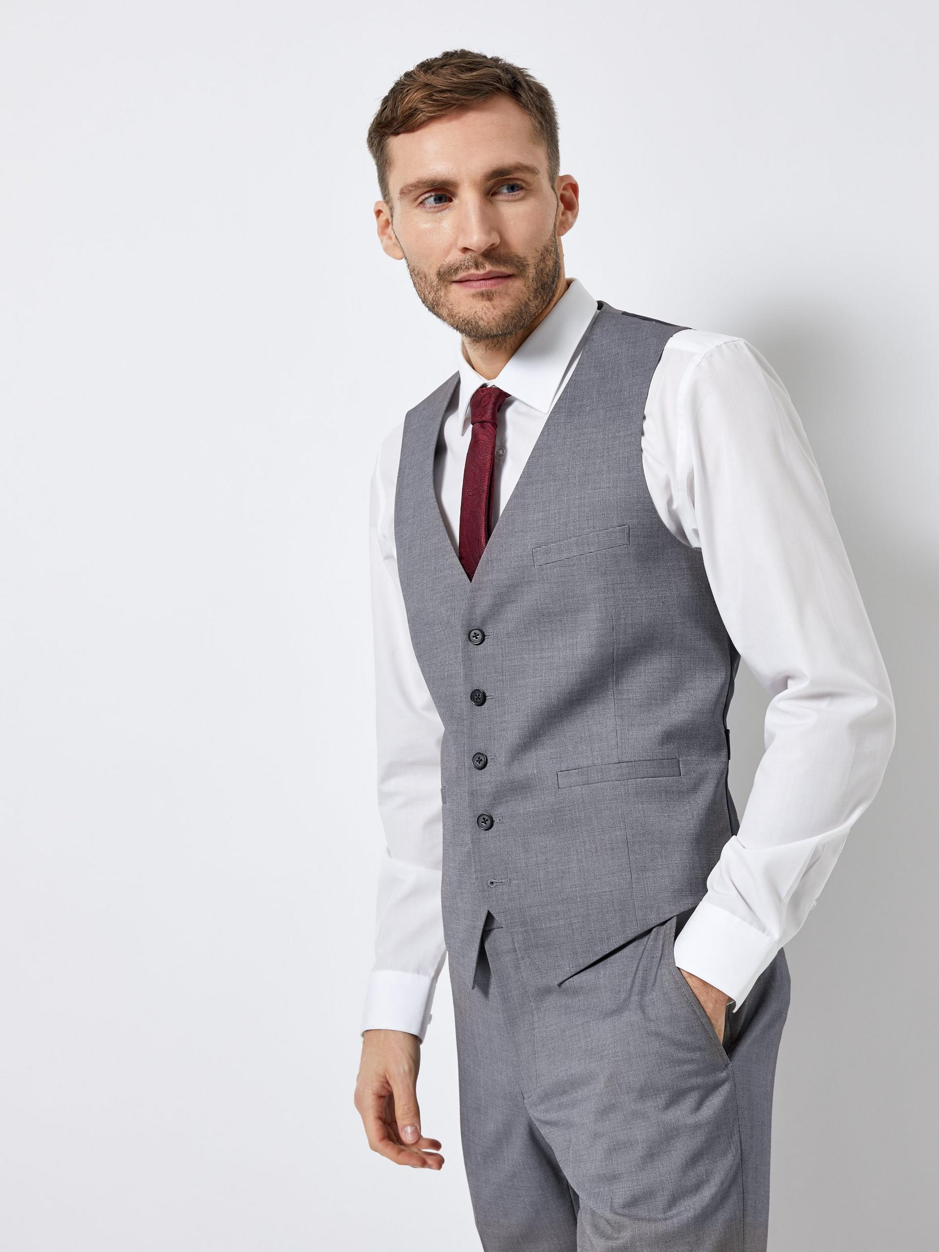 Grey Texture Skinny Fit Suit Waistcoat