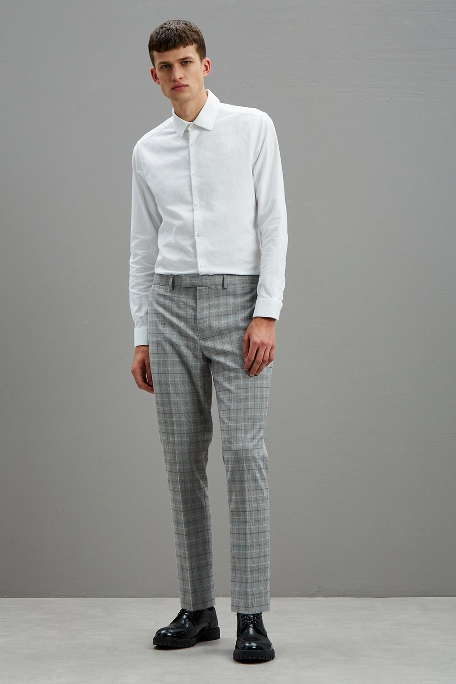 Grey Skinny Check Suit Trousers