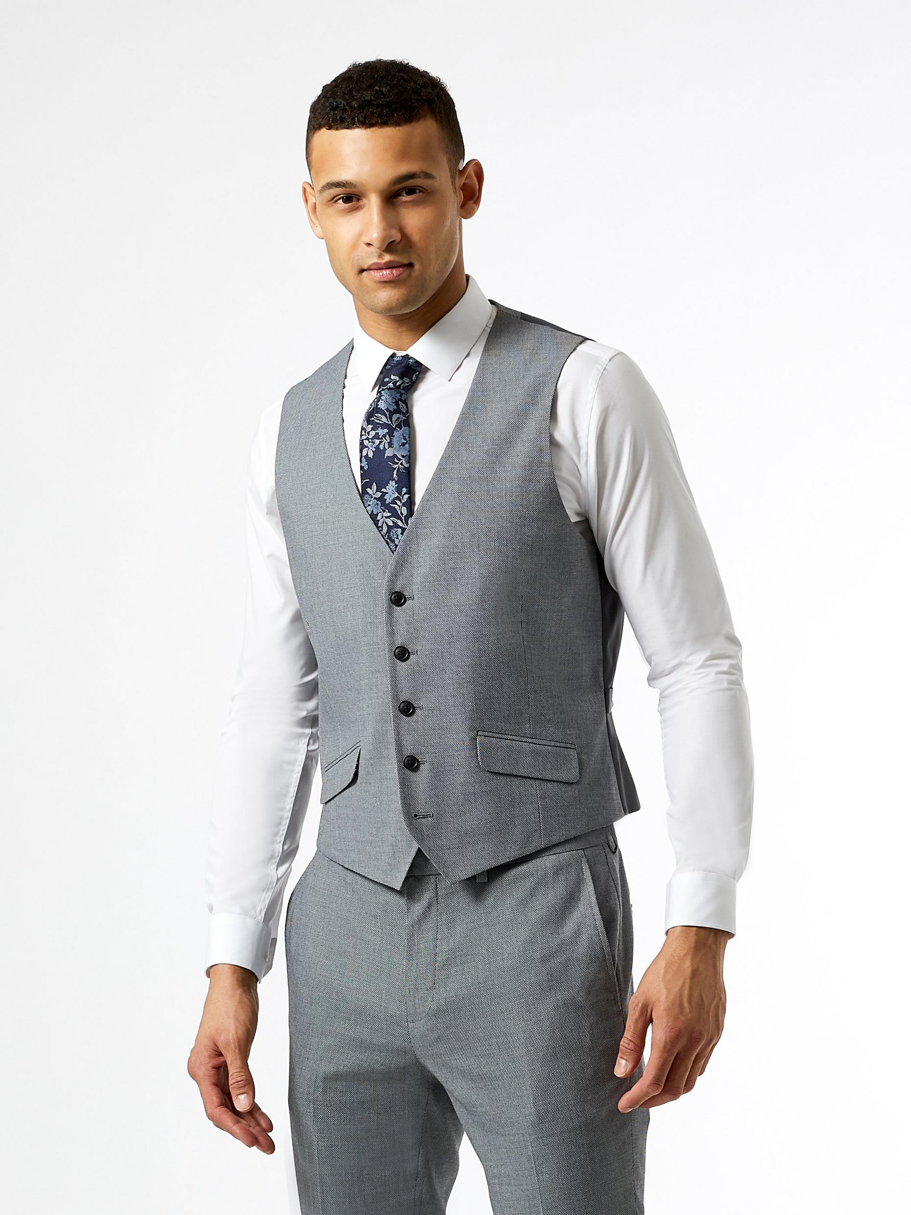 Grey Micro Texture Skinny Fit Suit Waistcoat