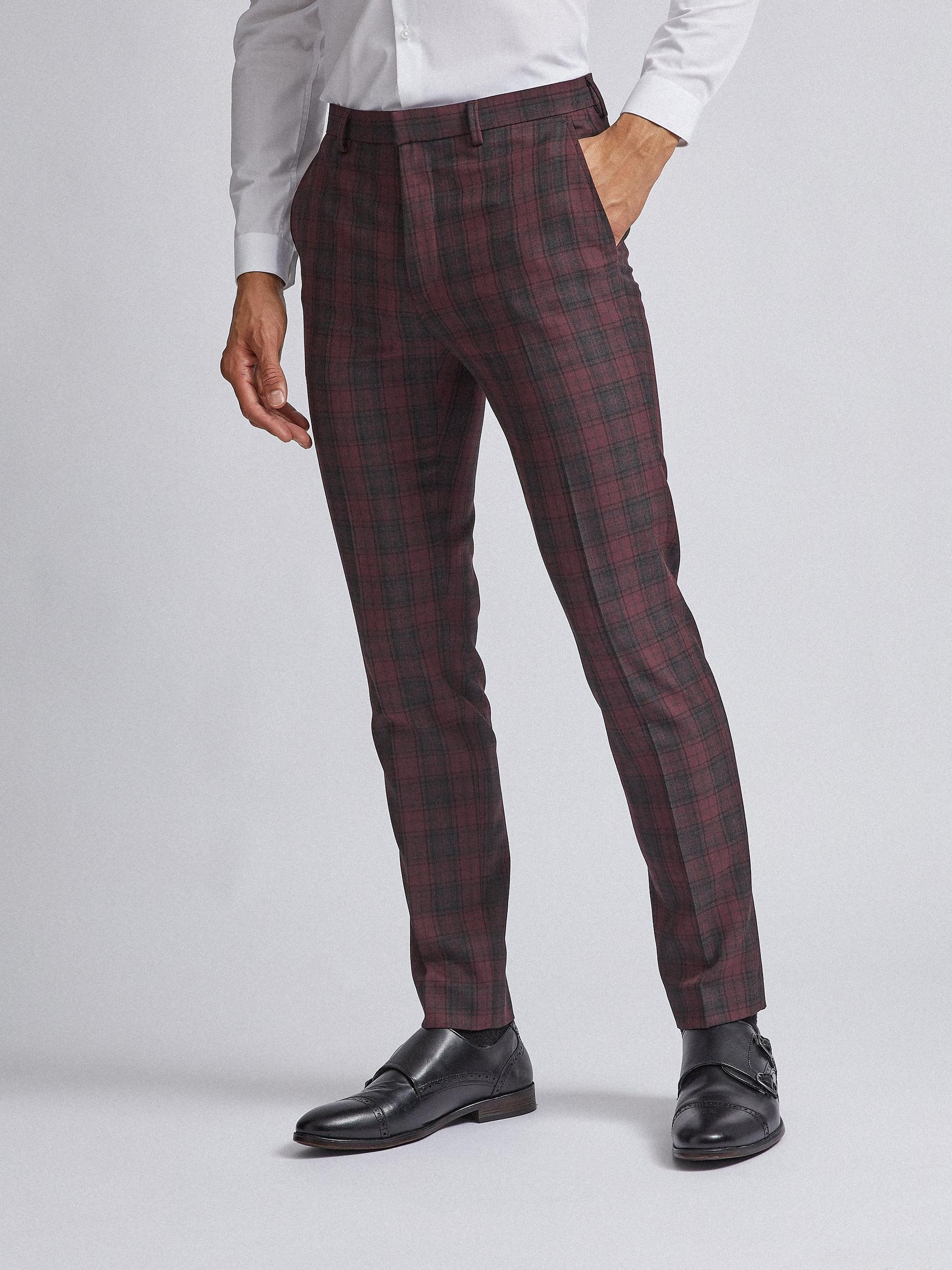 Red and Black Tartan Skinny Fit Suit Trousers