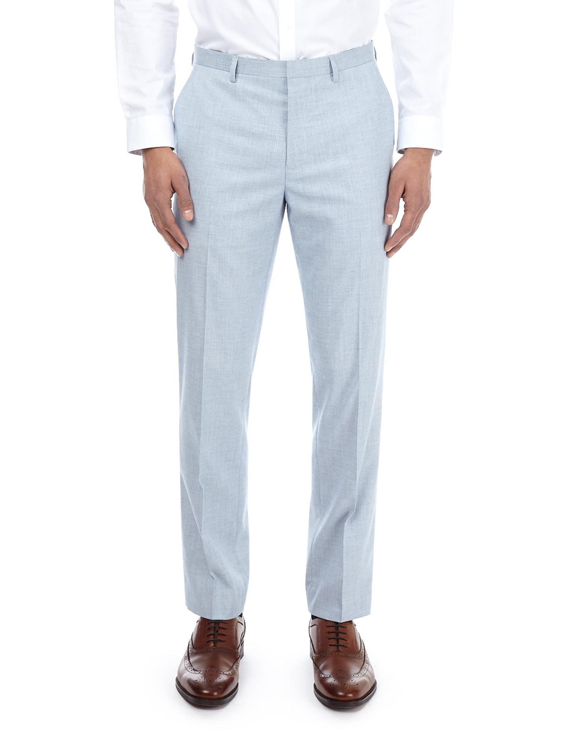 Pale Blue Slim Fit Textured Trousers