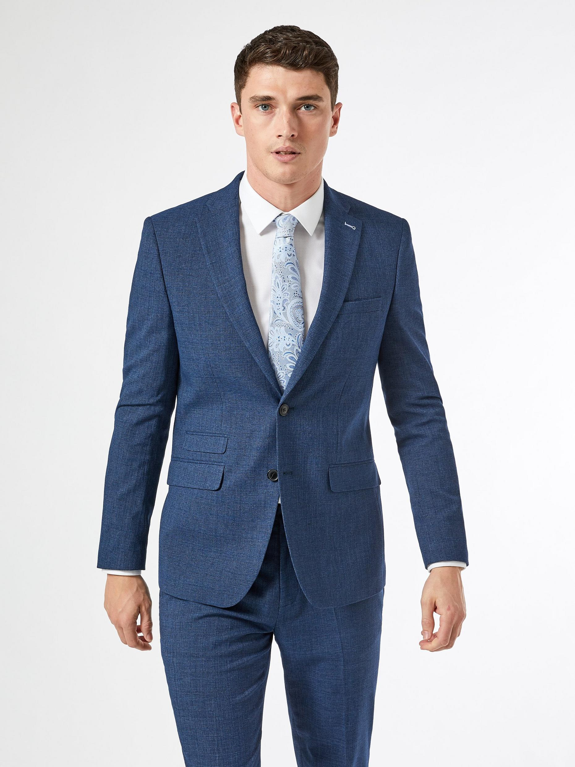 Blue Texture End On End Slim Fit Suit Jacket