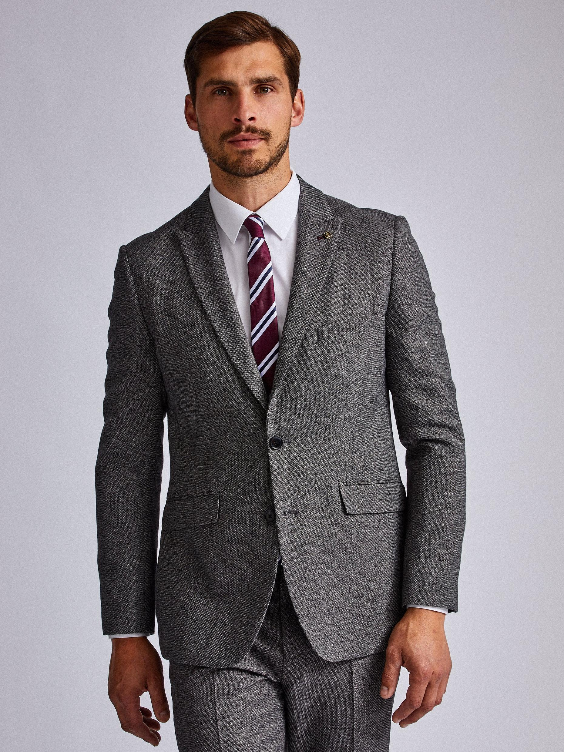 Grey Birdseye Slim Fit Suit Jacket