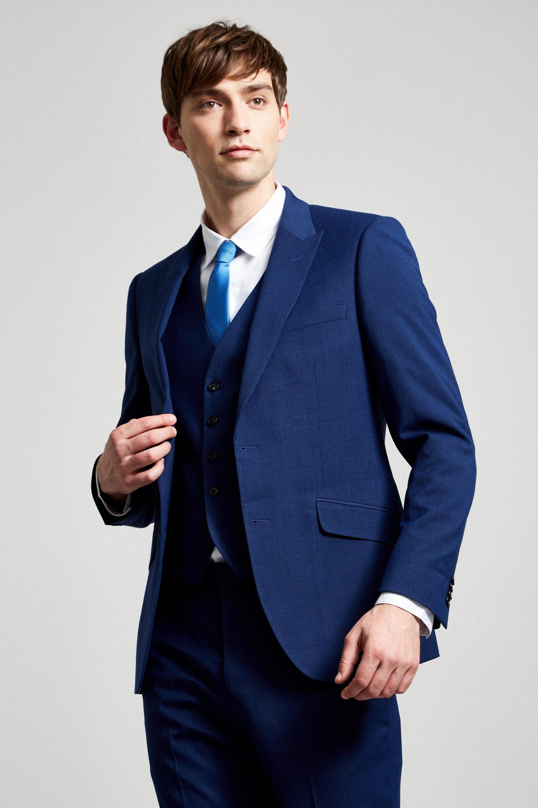 Blue Texture Slub Slim Fit Suit Jacket