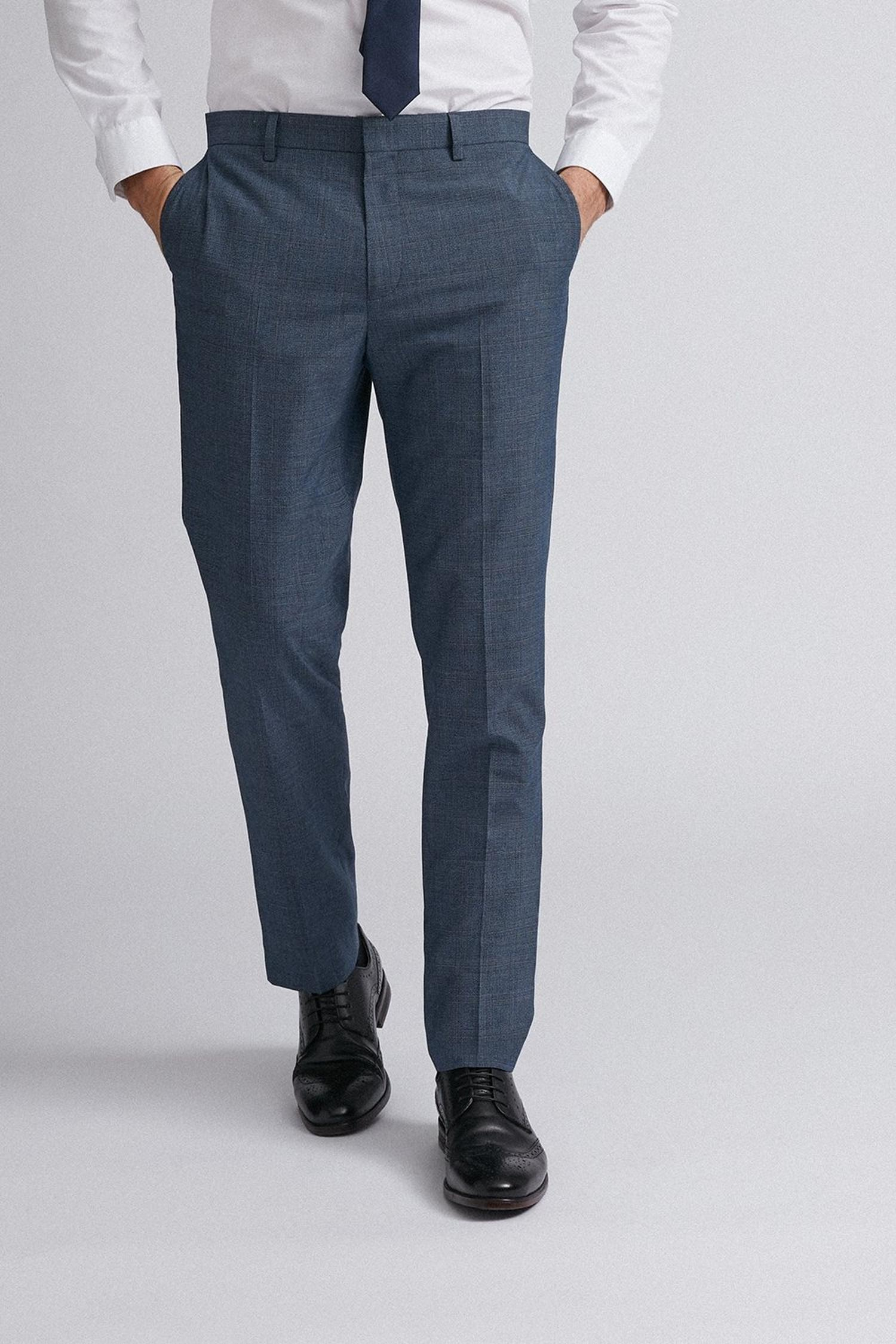 106 Blue Jaspe Check Slim Fit Suit Trousers image number 1