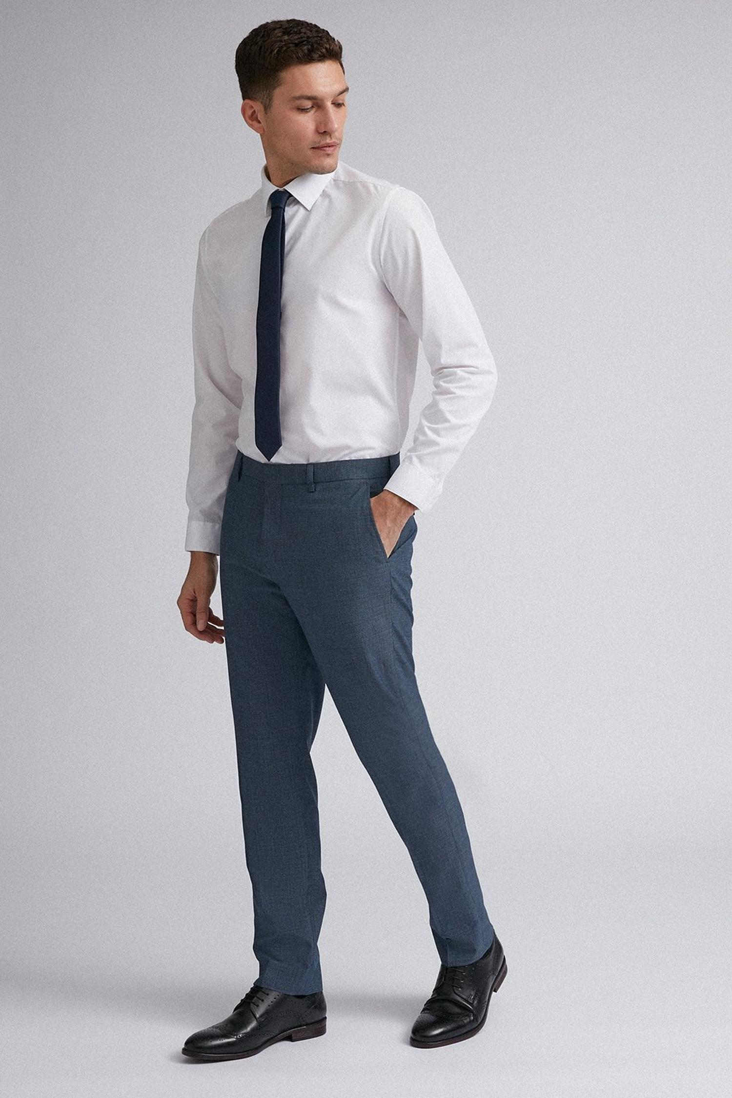 106 Blue Jaspe Check Slim Fit Suit Trousers image number 2