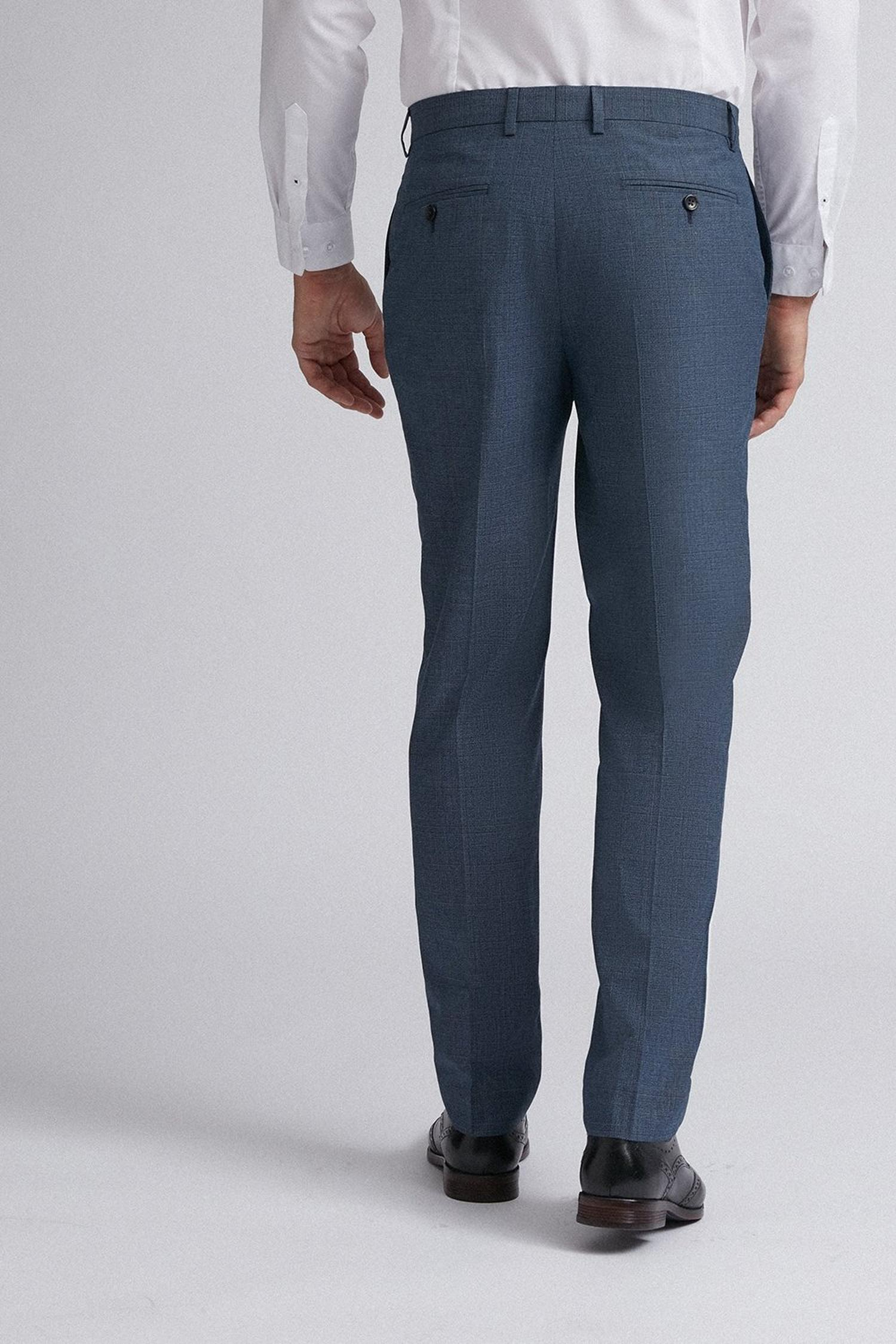 106 Blue Jaspe Check Slim Fit Suit Trousers image number 3