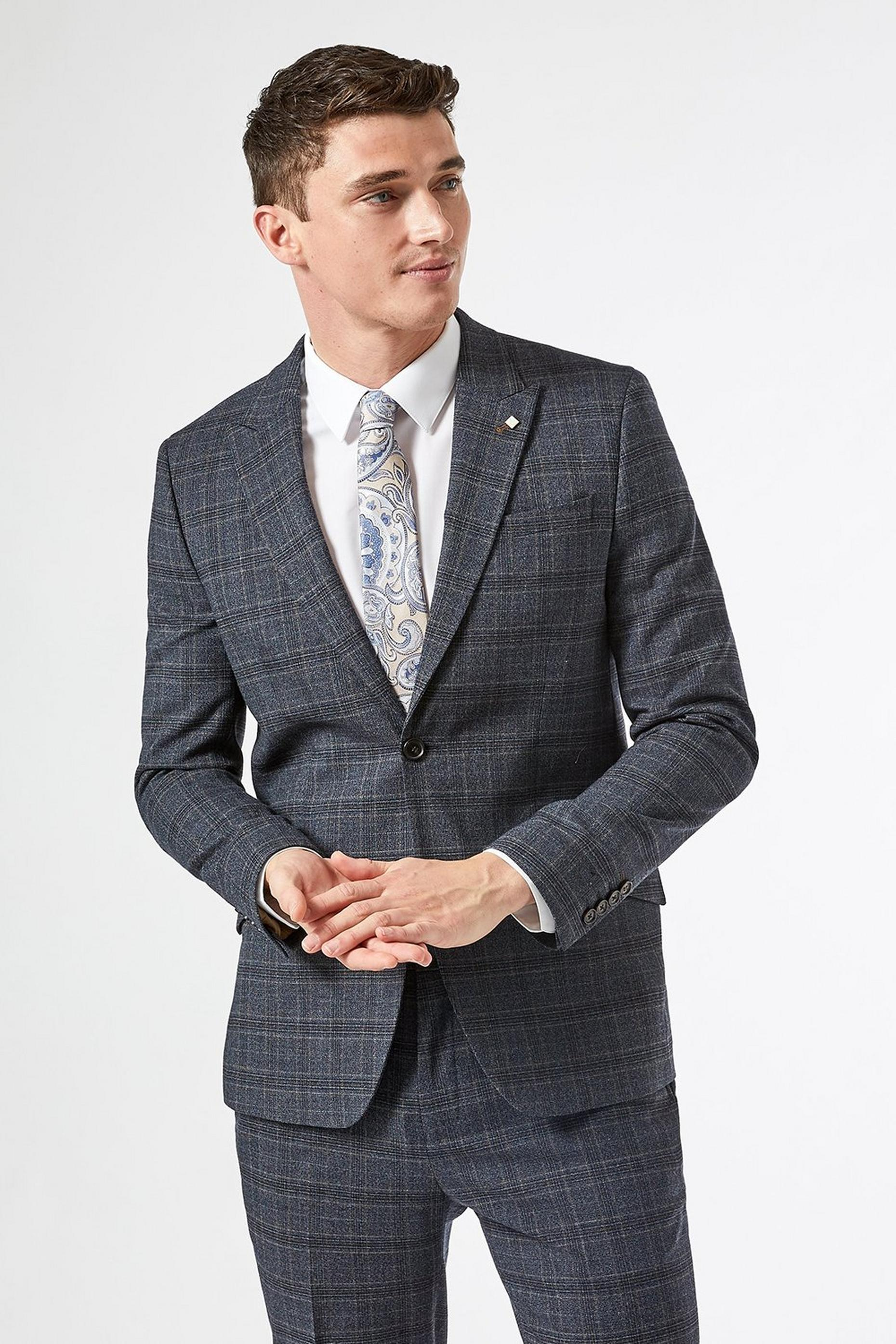 Slim Fit Russet POW Check Suit Jacket