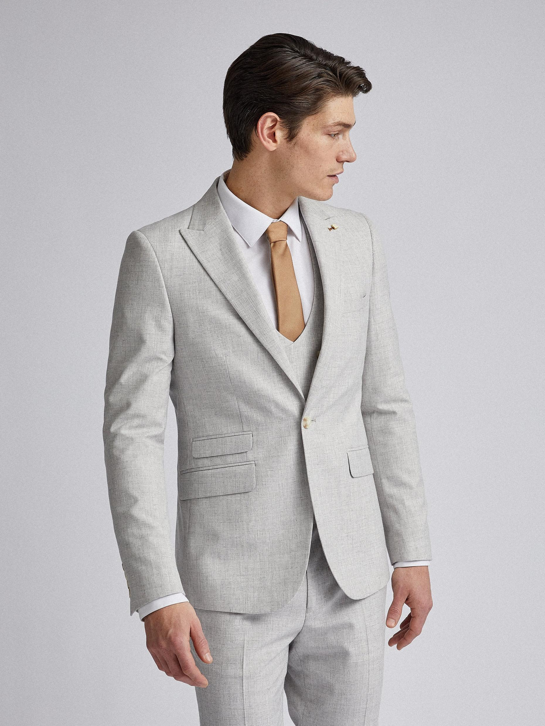 Light Grey Puppytooth Skinny Fit Suit Jacket
