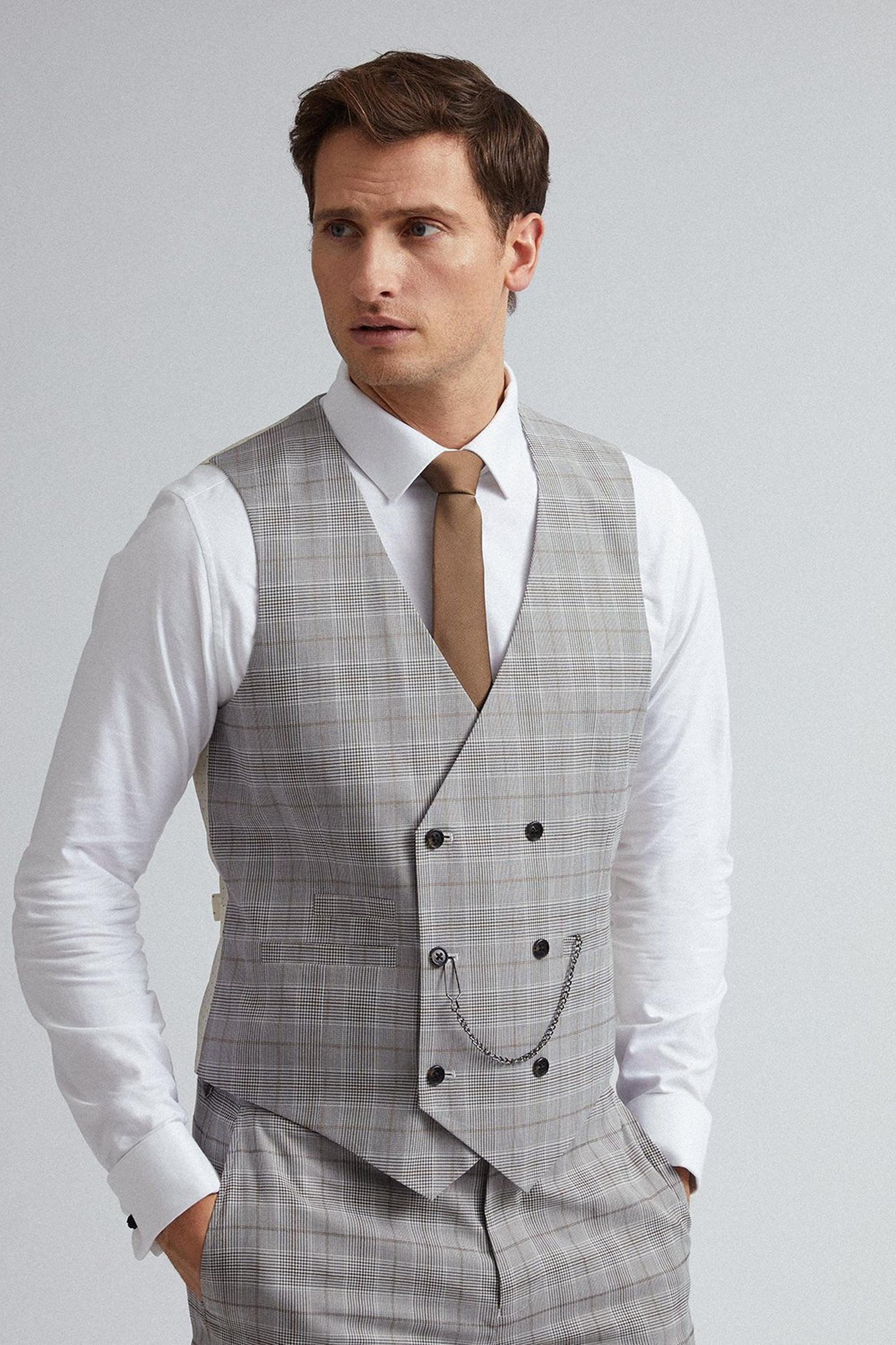 Grey and Neutral Check Waistcoat