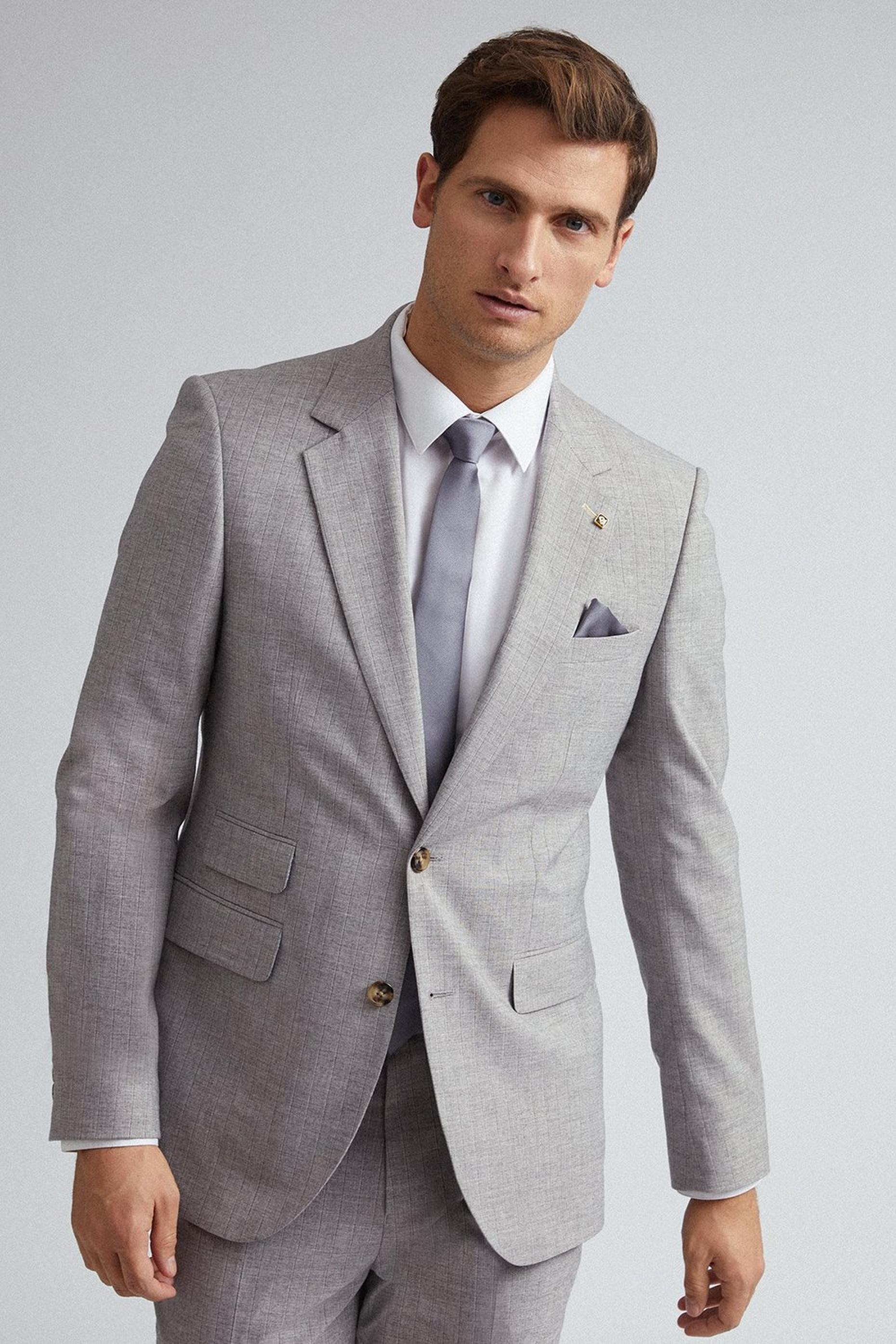 Grey and Black Stripe Slim Fit Suit Jacket
