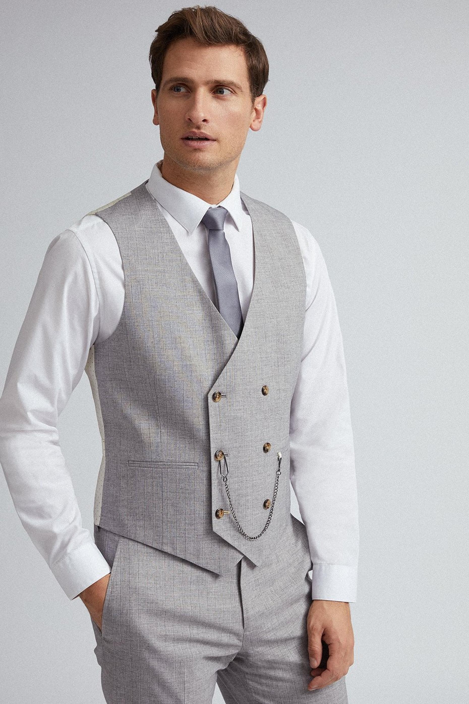 Grey and Black Stripe Slim Fit Suit Waistcoat