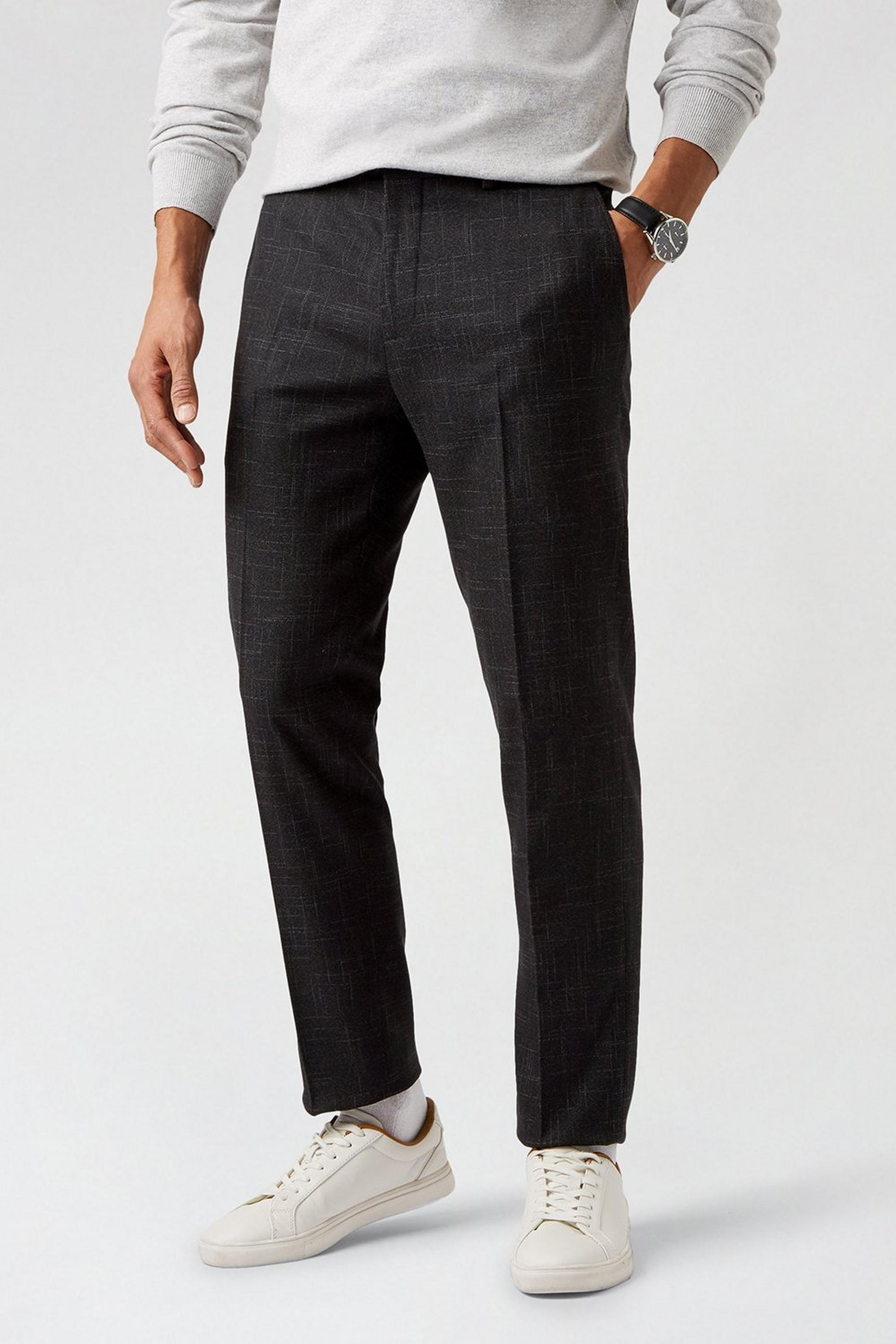 Black Scratch Slim Fit Suit Trousers