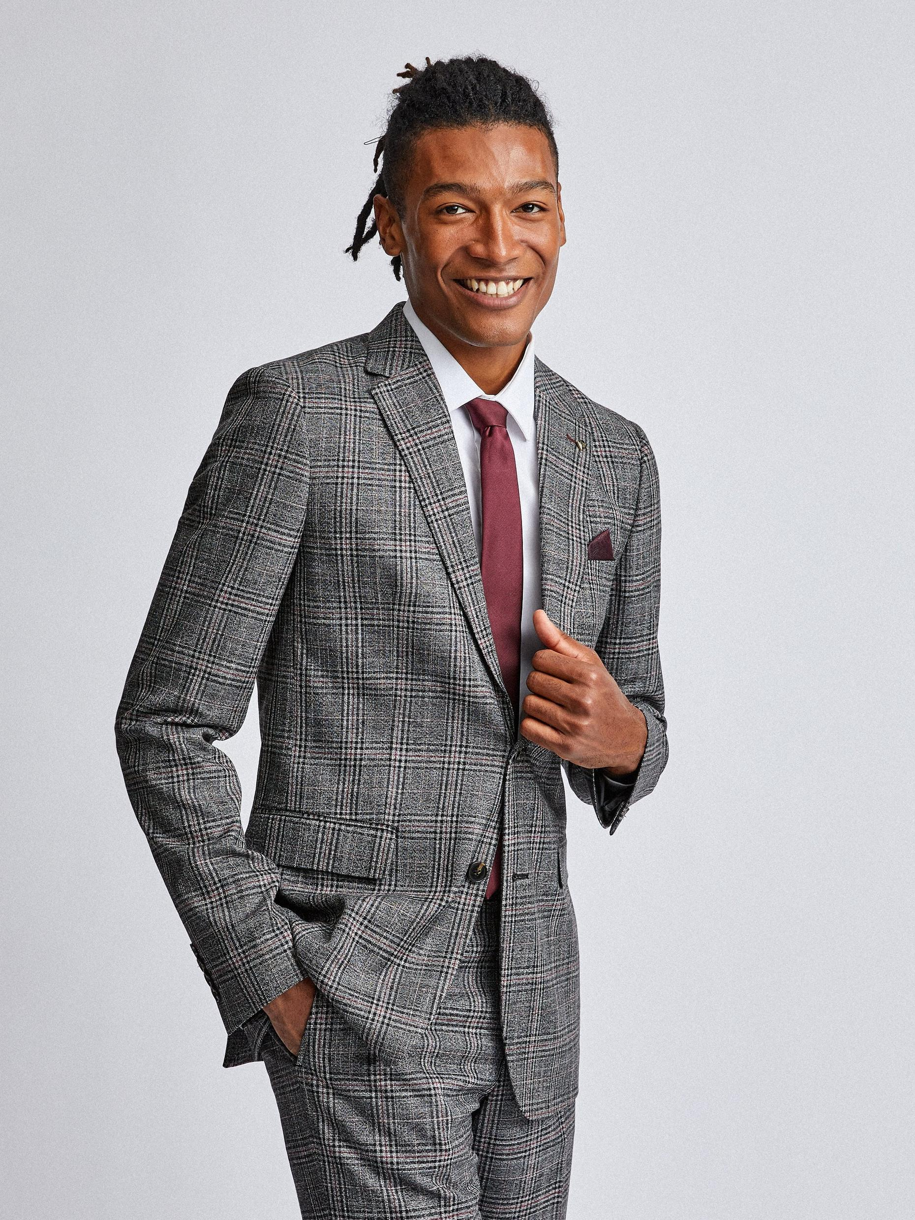 Grey and Burgundy Check Slim Fit Suit Jacket