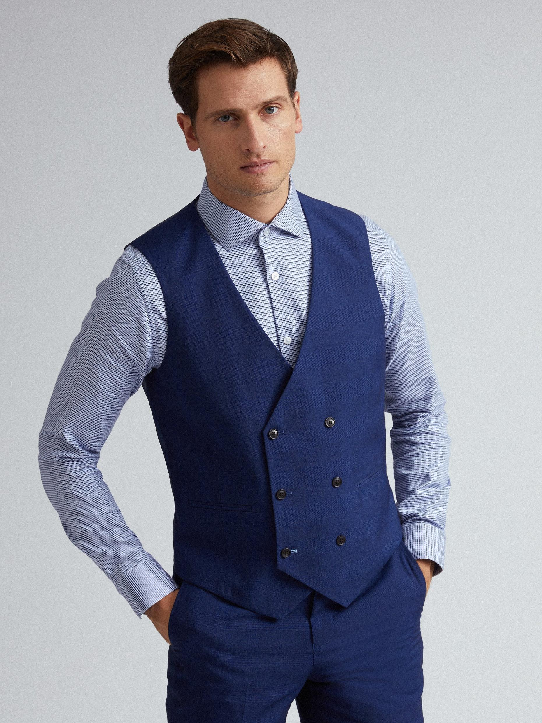 Blue Self Check Tailored Fit Suit Waistcoat