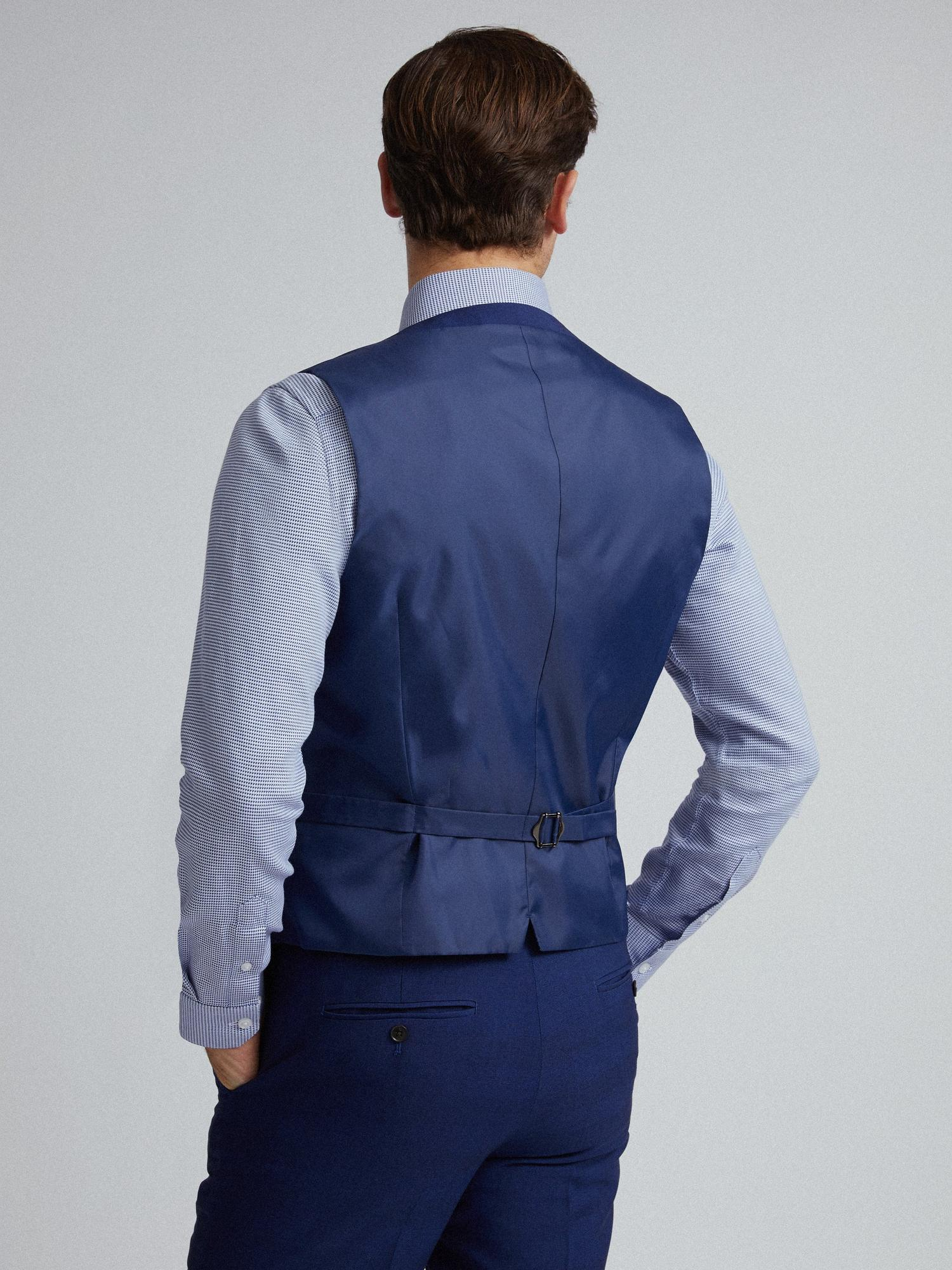 106 Blue Self Check Tailored Fit Suit Waistcoat image number 2