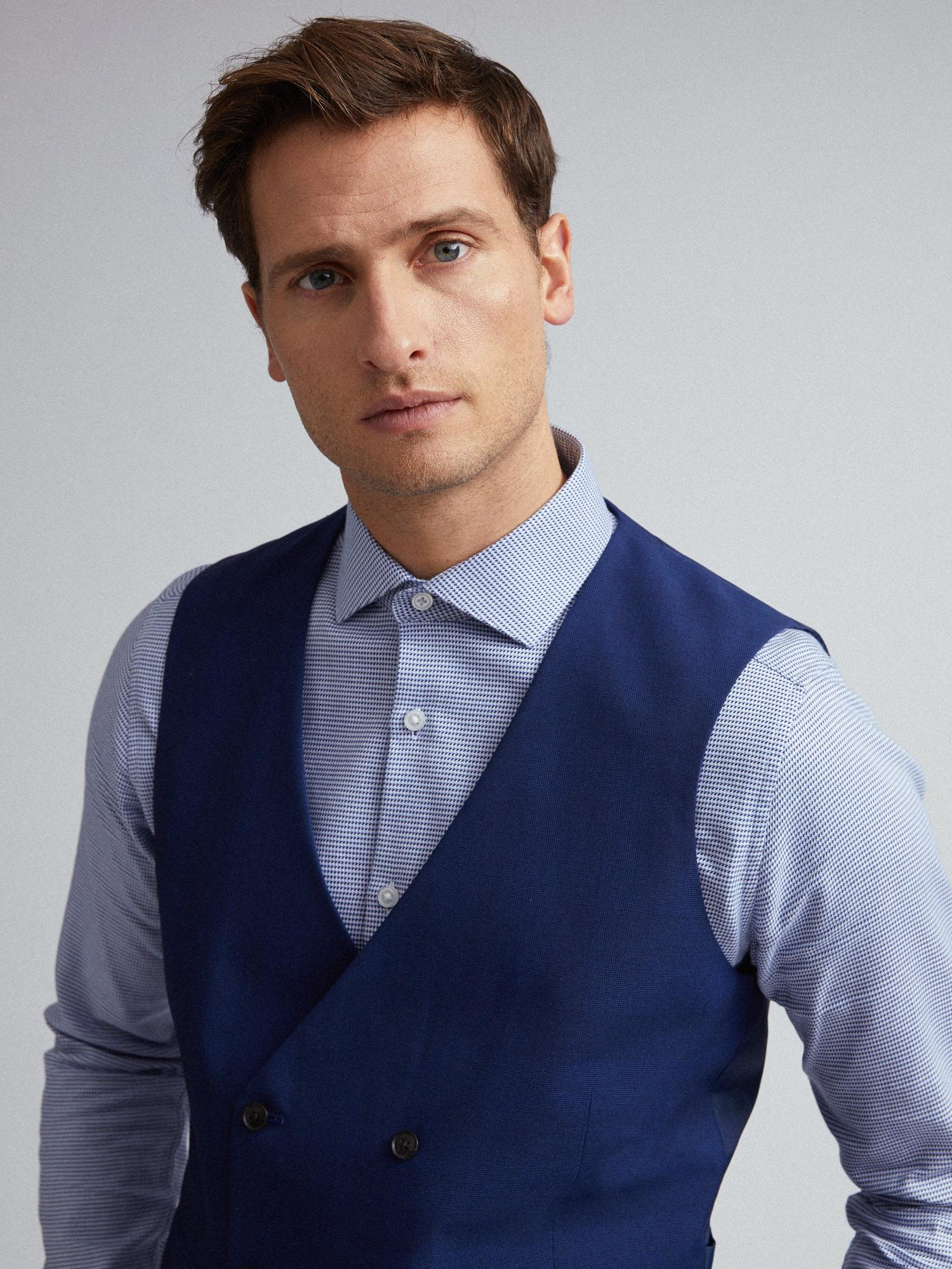 106 Blue Self Check Tailored Fit Suit Waistcoat image number 3