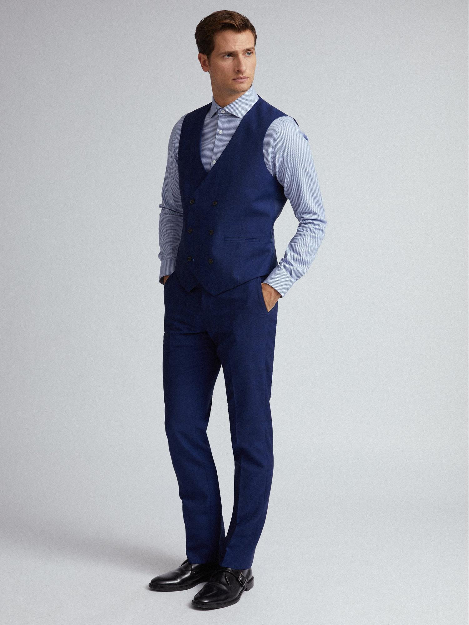 106 Blue Self Check Tailored Fit Suit Waistcoat image number 4