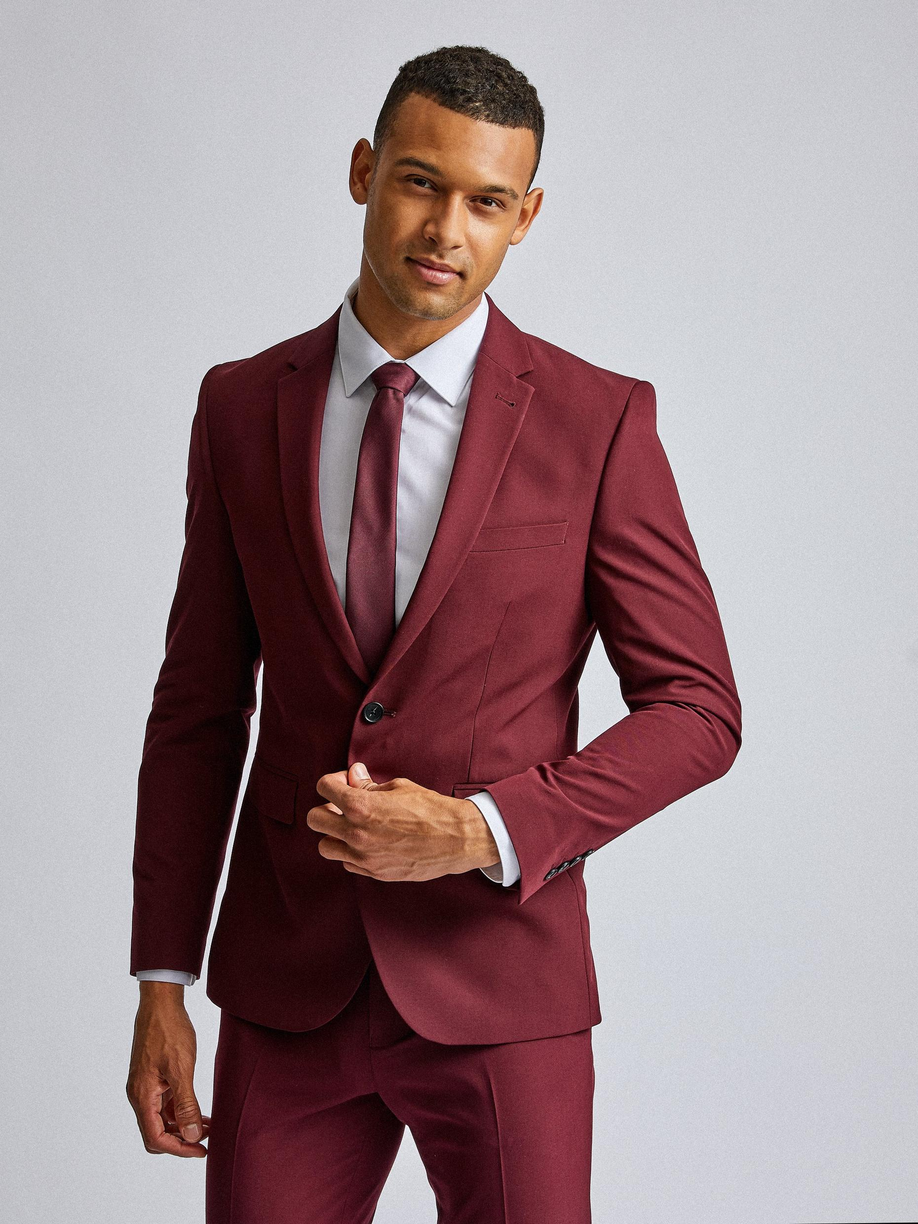 Burgundy Stretch Skinny Fit Suit Jacket
