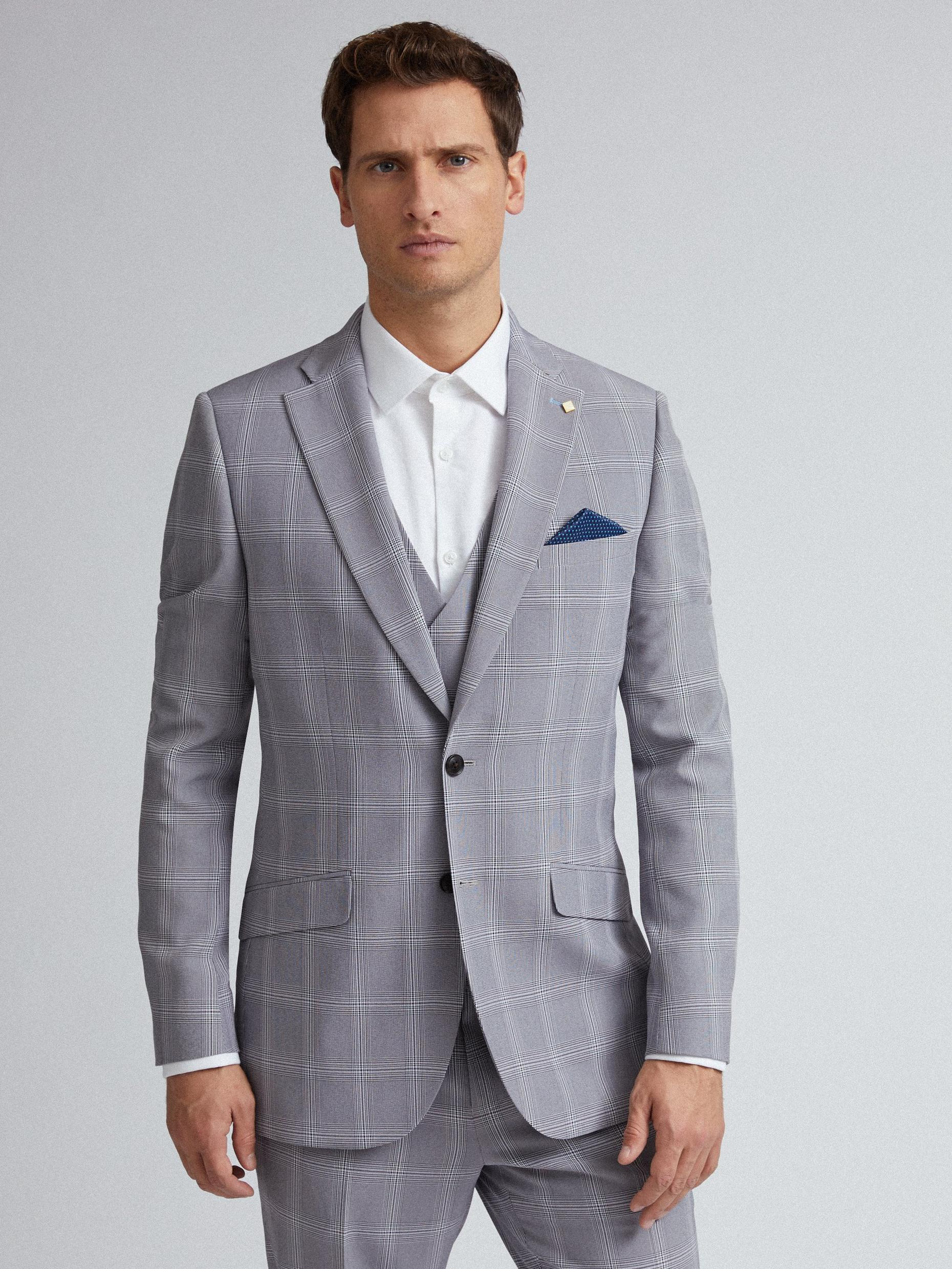 Light Grey Graphic Check Slim Fit Suit Jacket