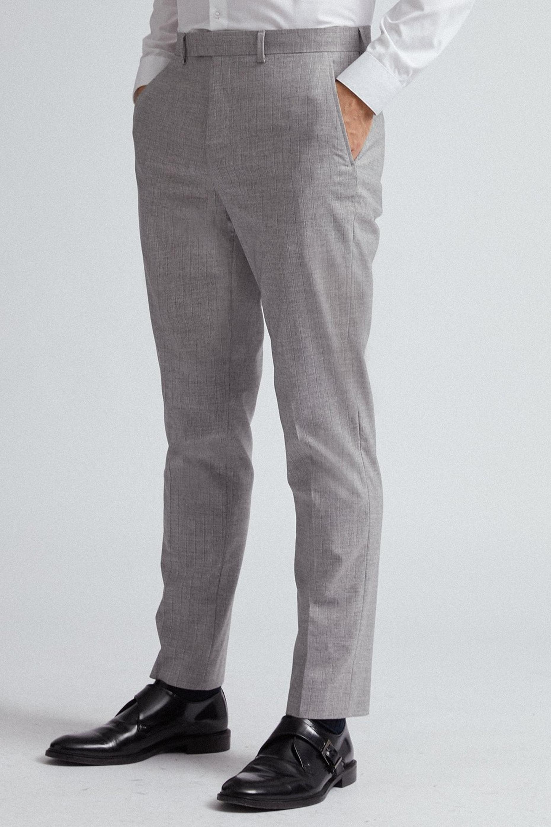 Grey and Black Stripe Slim Fit Suit Trousers