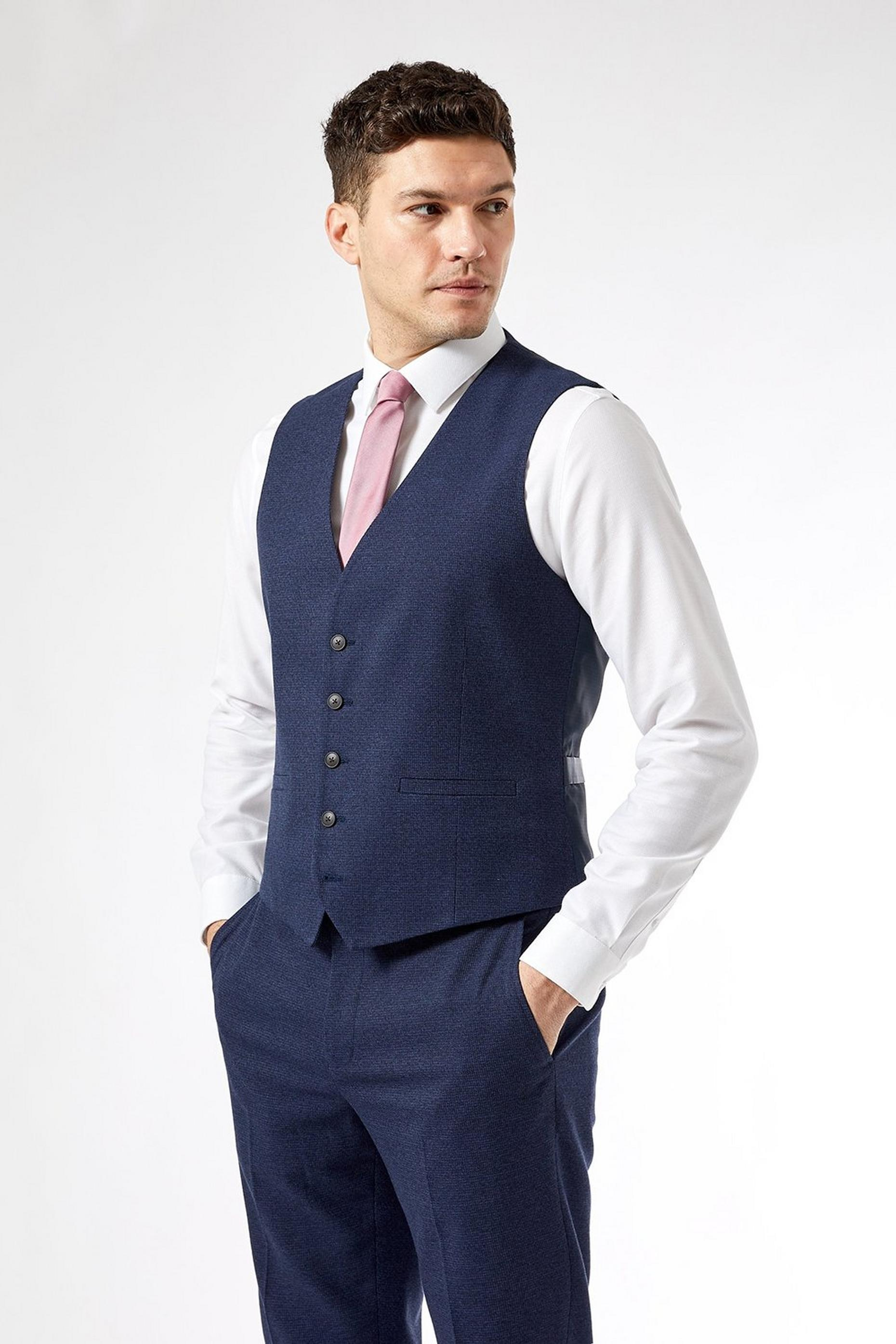 Navy Marl Tailored Fit Suit Waistcoat