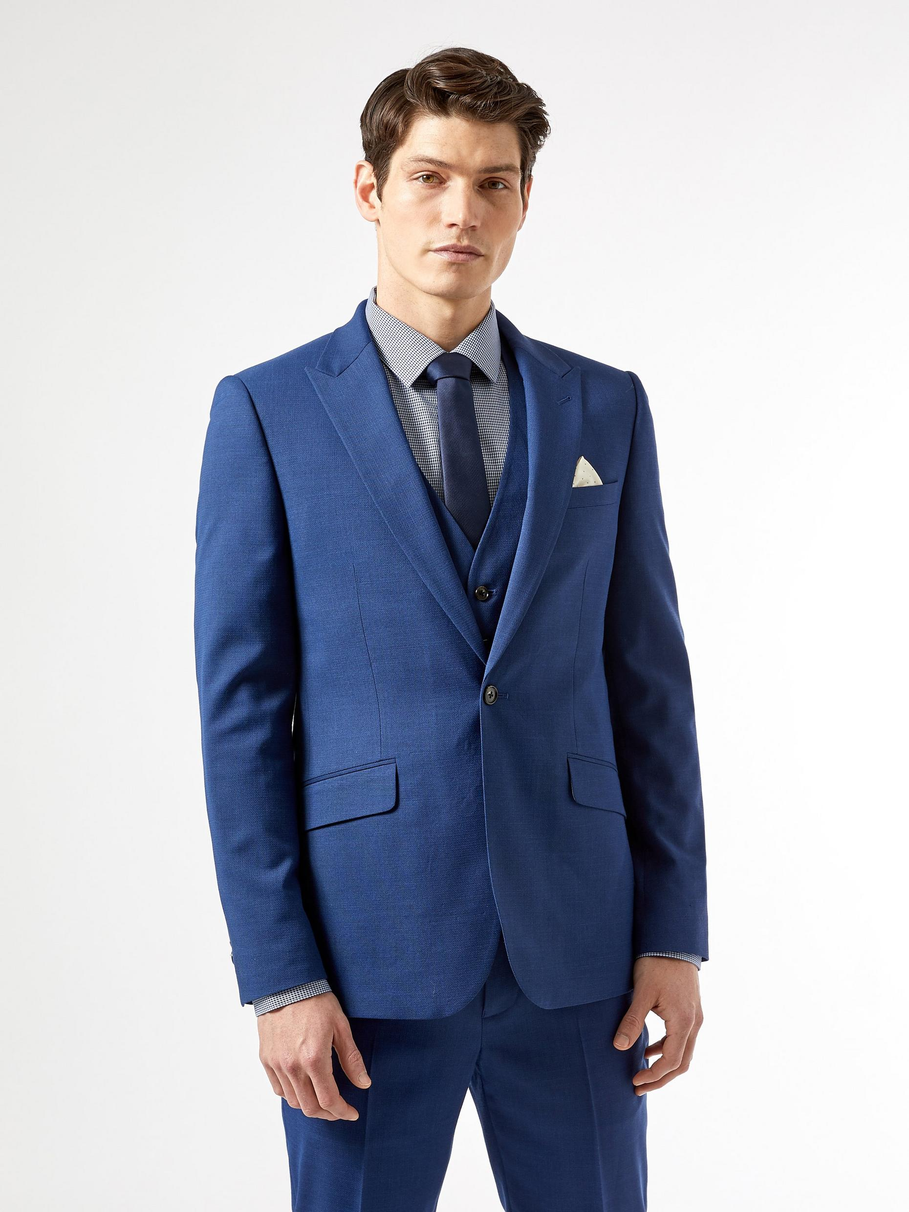 Blue Texture Slub Skinny Fit Suit Jacket