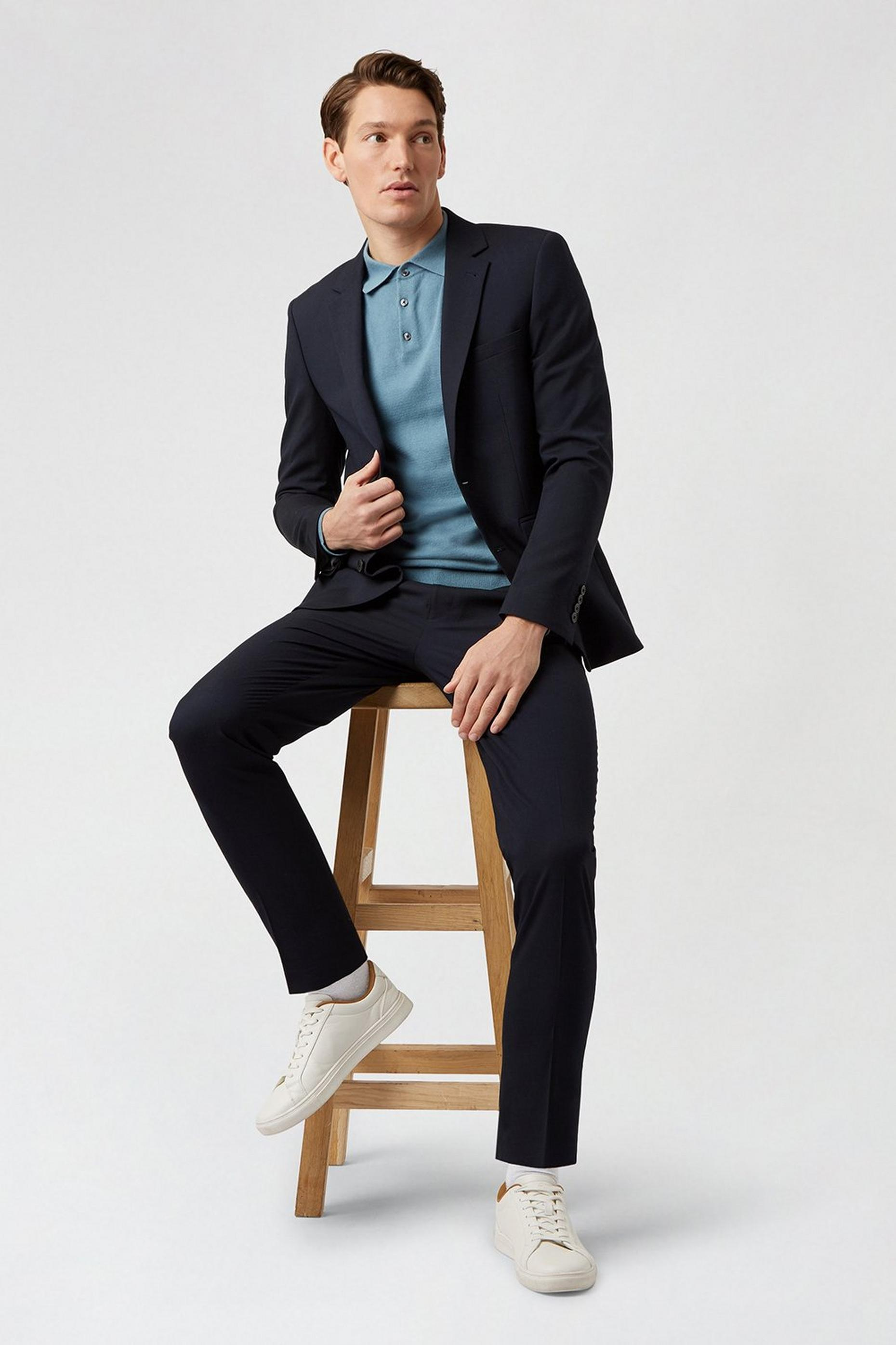 Essential Navy Skinny Fit Suit Jacket