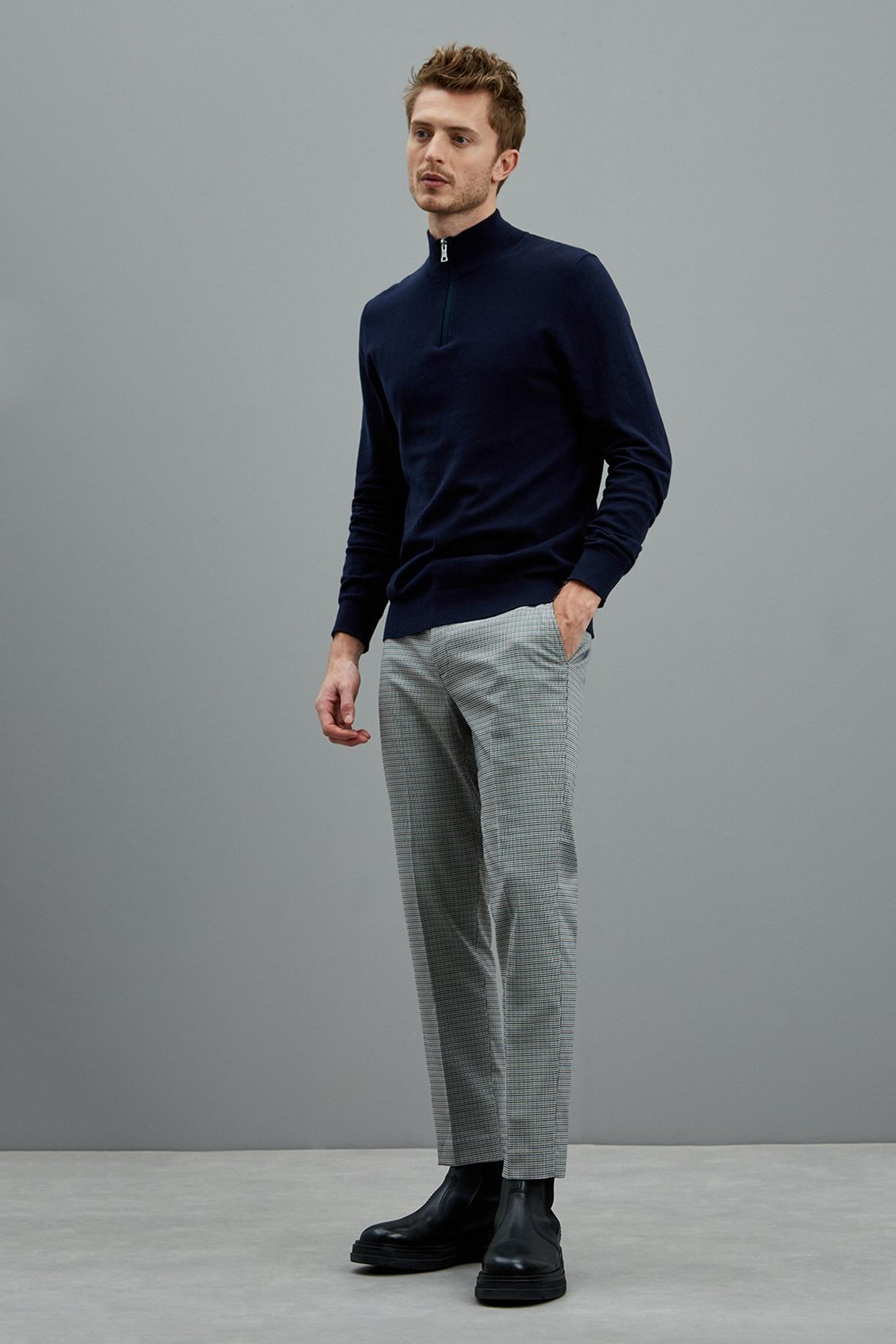 Aqua Brown Dogtooth Skinny Fit Suit Trousers