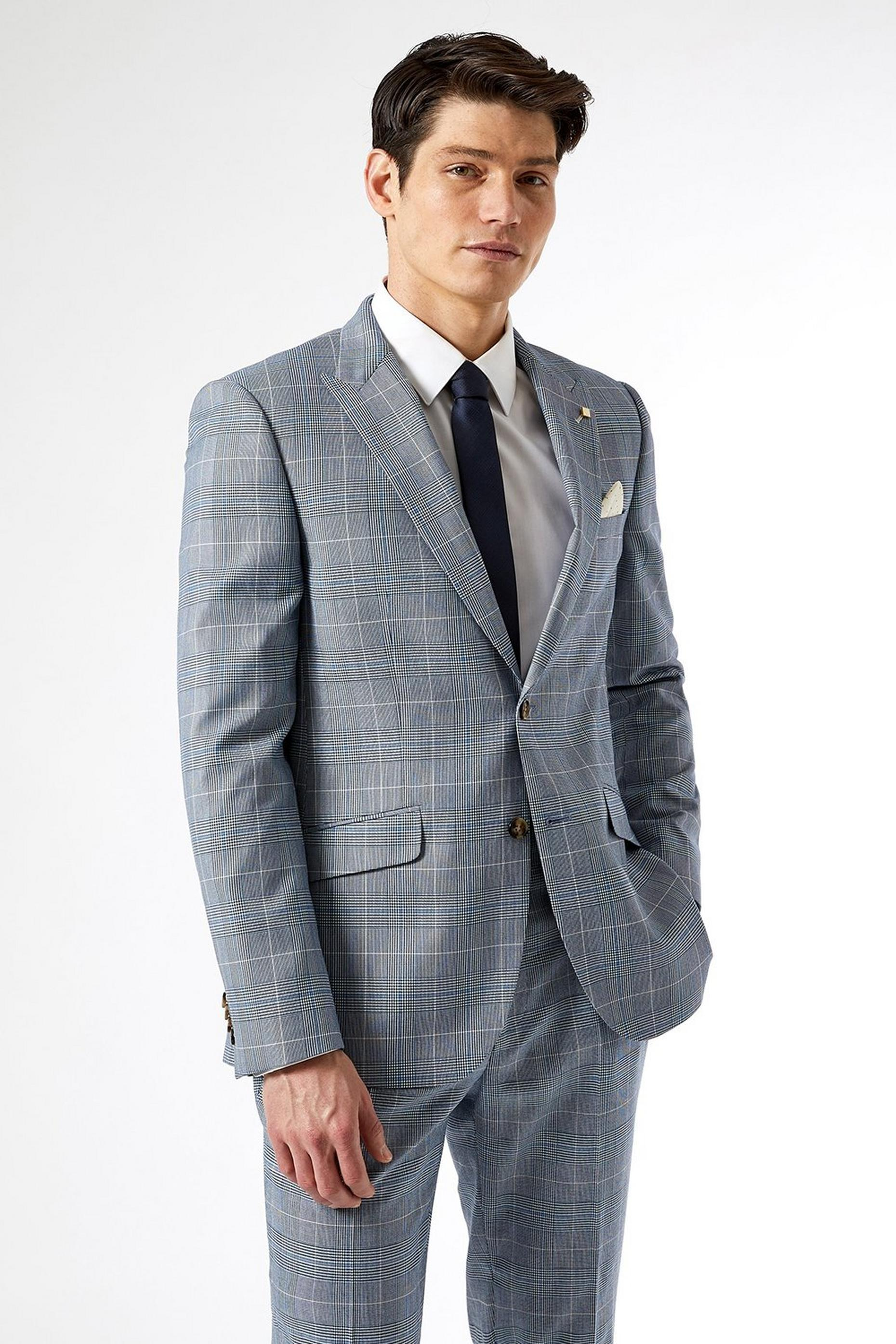 Light Blue check Slim Fit Suit Jacket