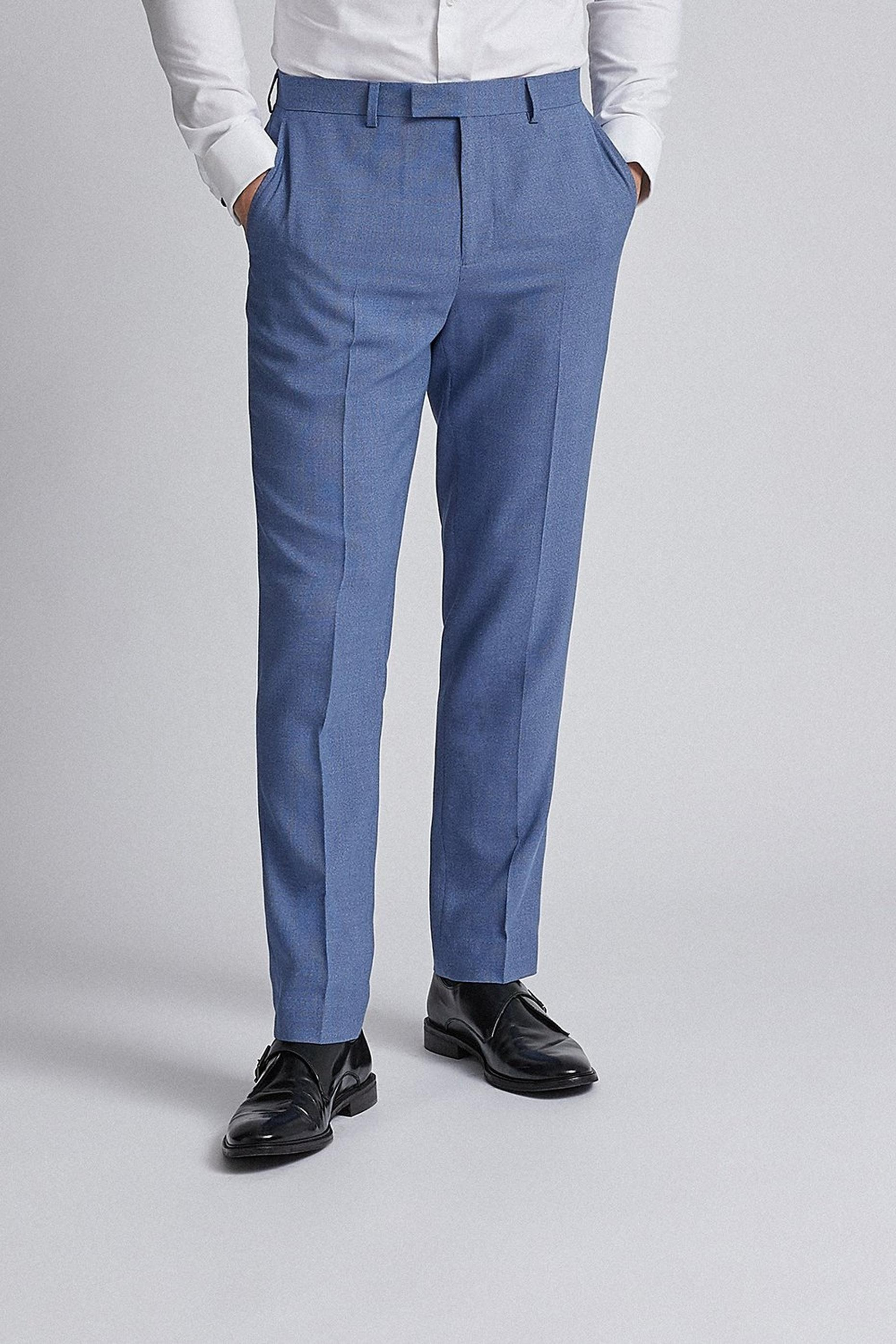 Light Blue Microweave Slim Fit Suit Trousers