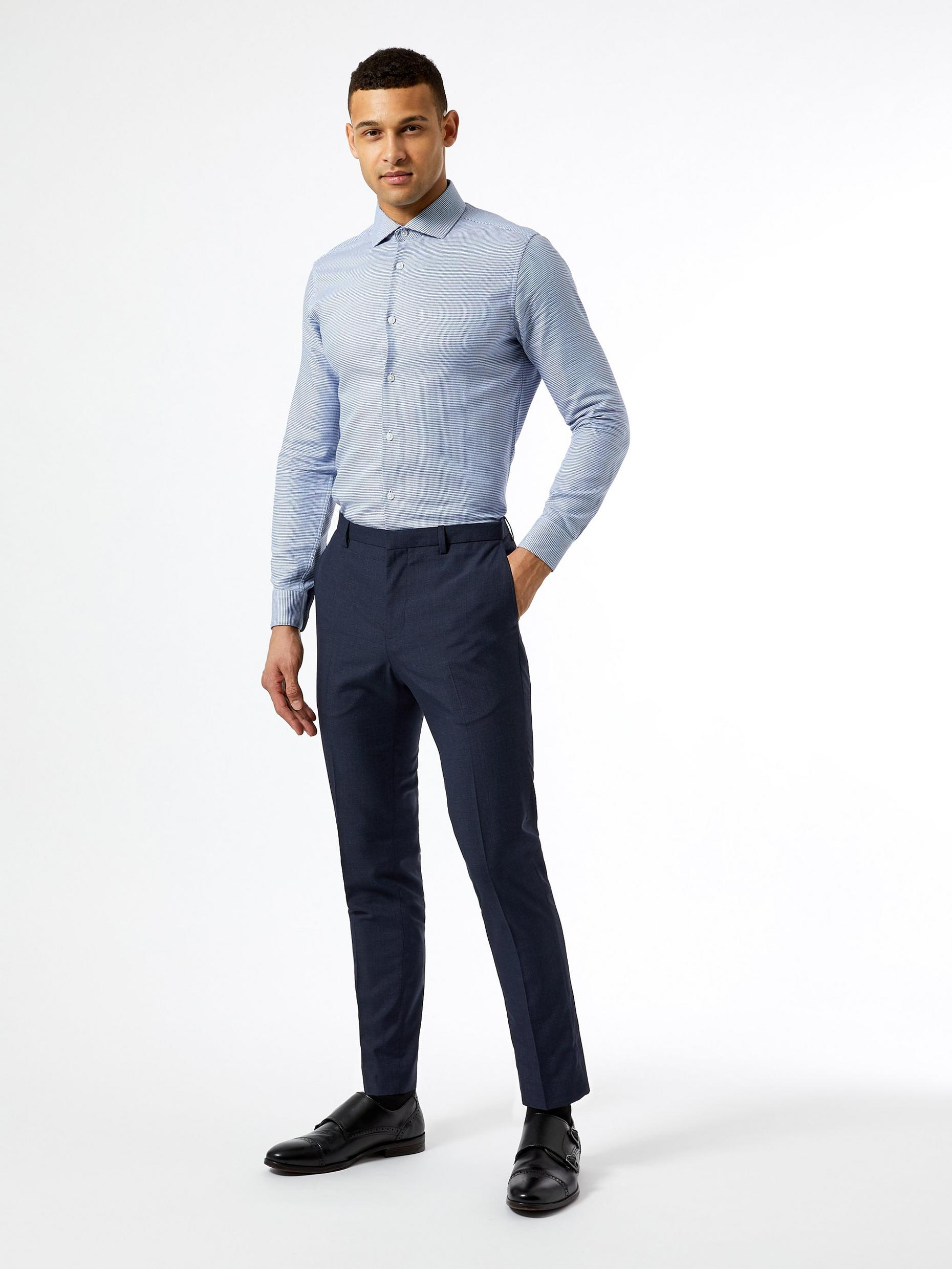 Mid Blue Jasper Check Skinny Fit Suit Trousers