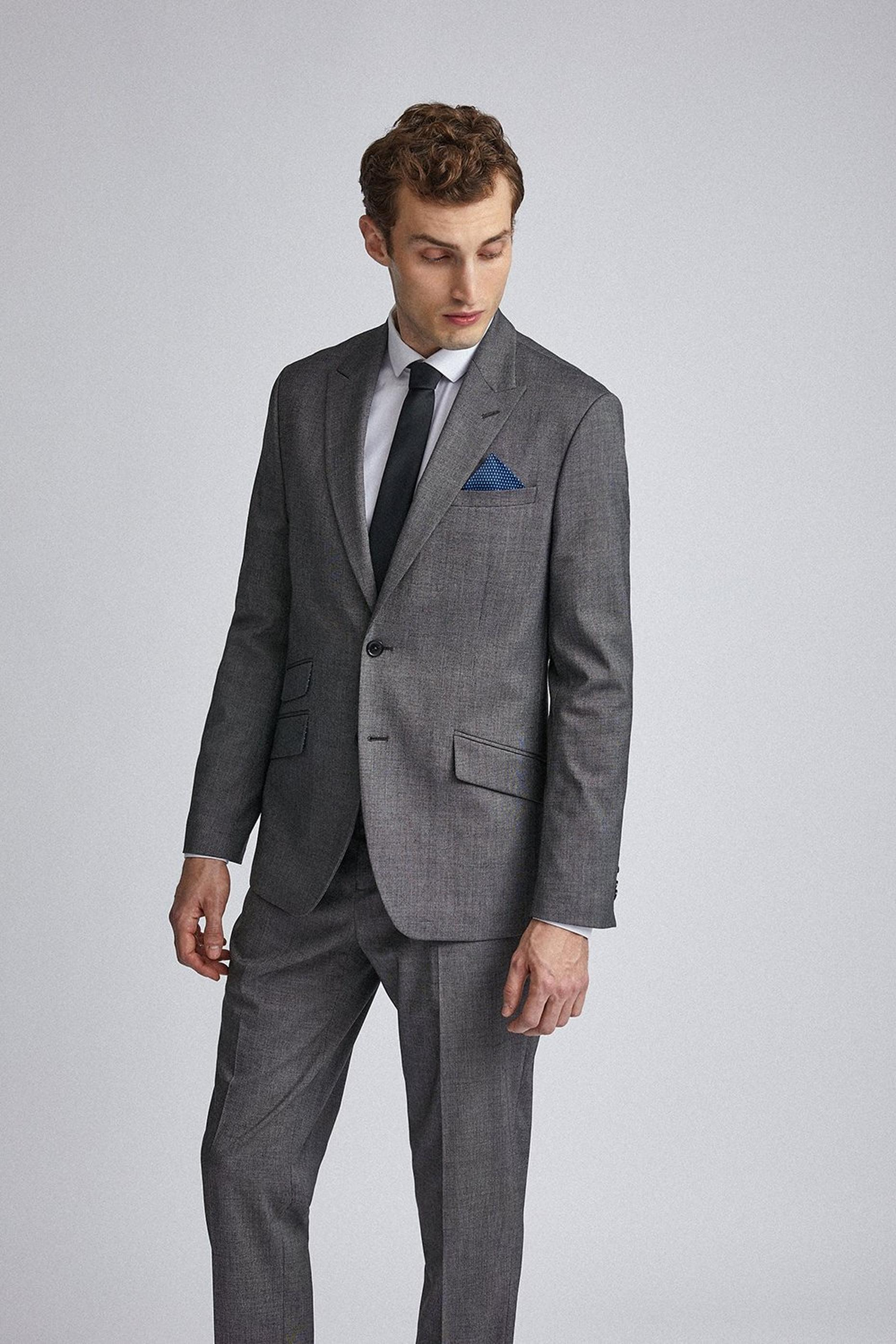 Charcoal End on End Tailored Fit Suit Jacket