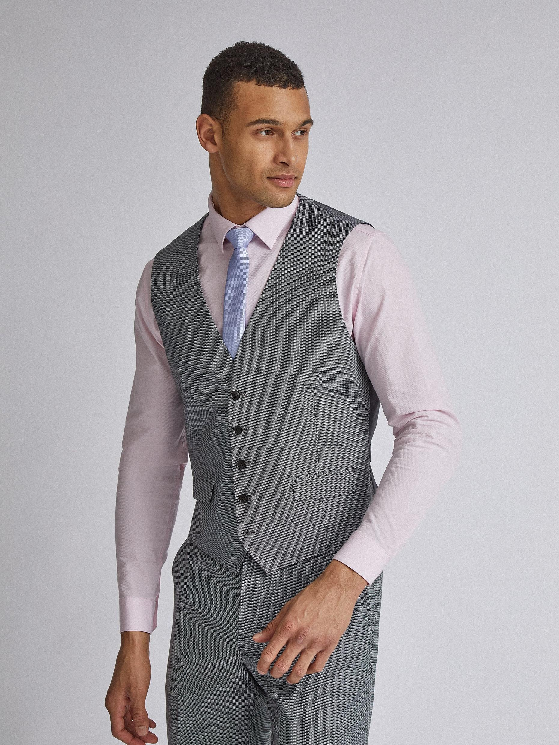 Grey Micro Texture Tailored Fit Suit Waistcoat