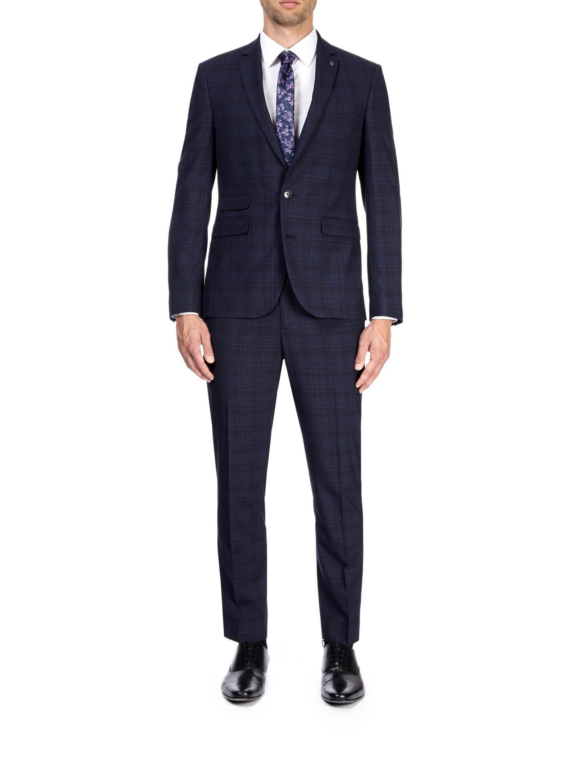 Blue and Black Slim Fit Check Suit Jacket