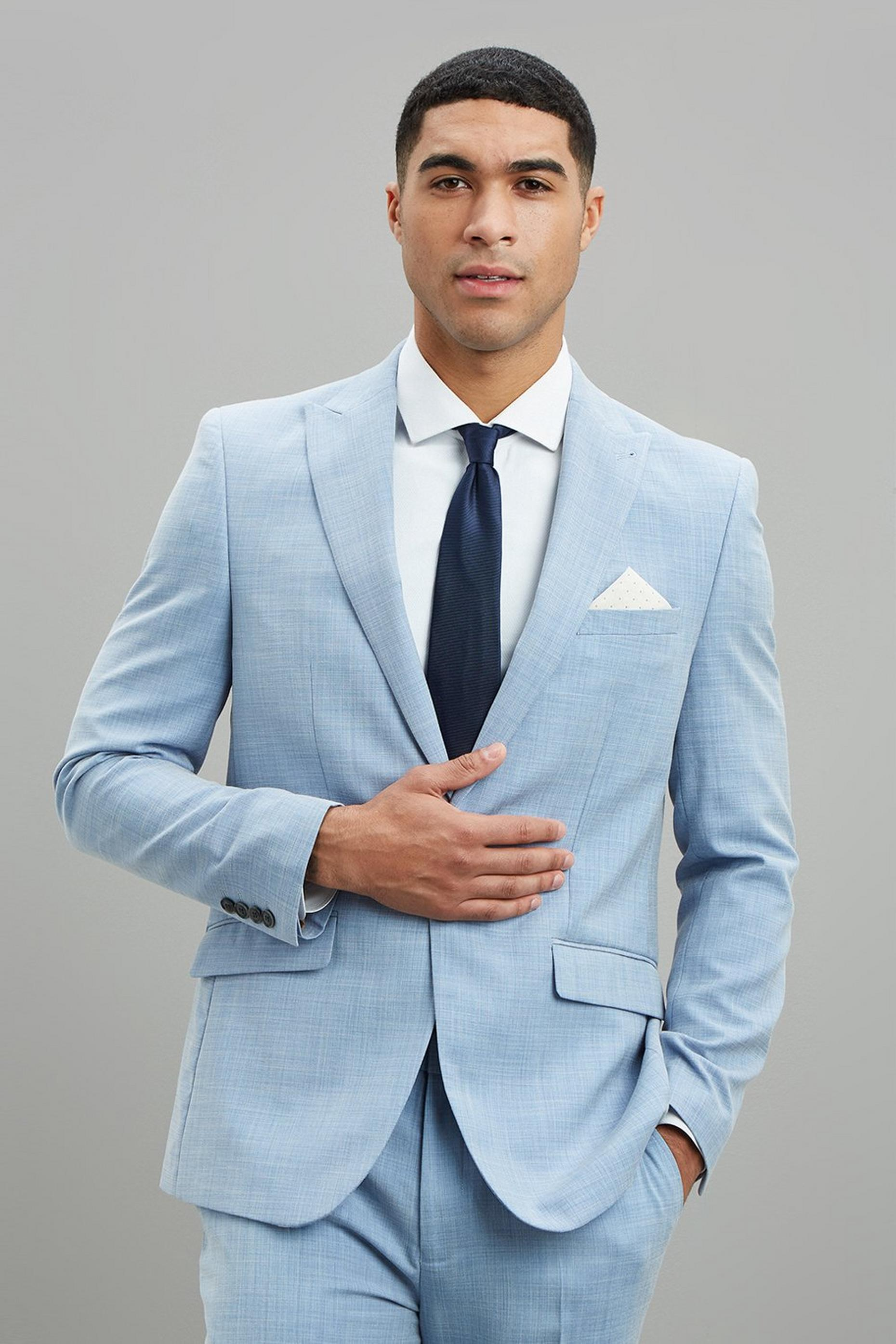 Pale Blue Sharkskin Slim Fit Suit Jacket