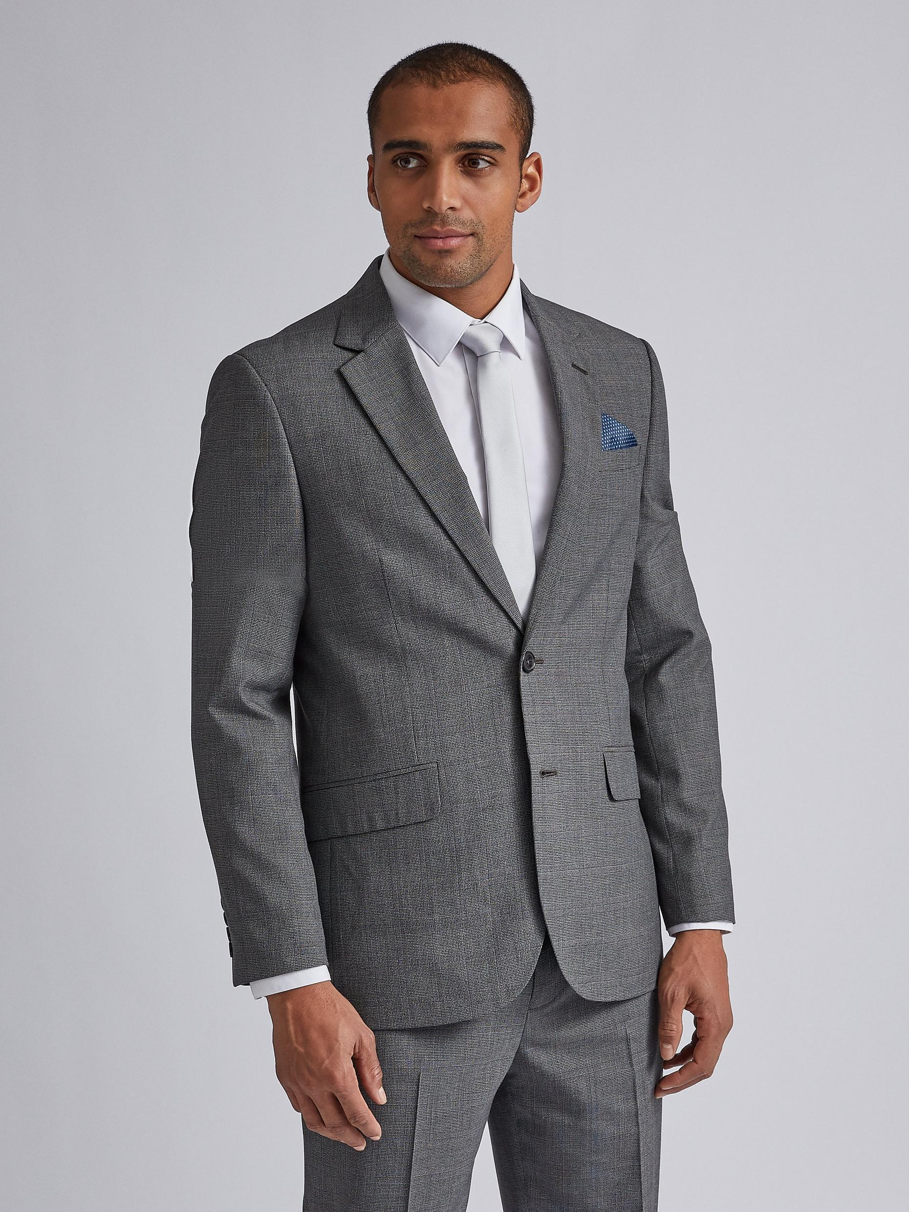 Grey Jaspe Check Tailored Fit Suit Jacket