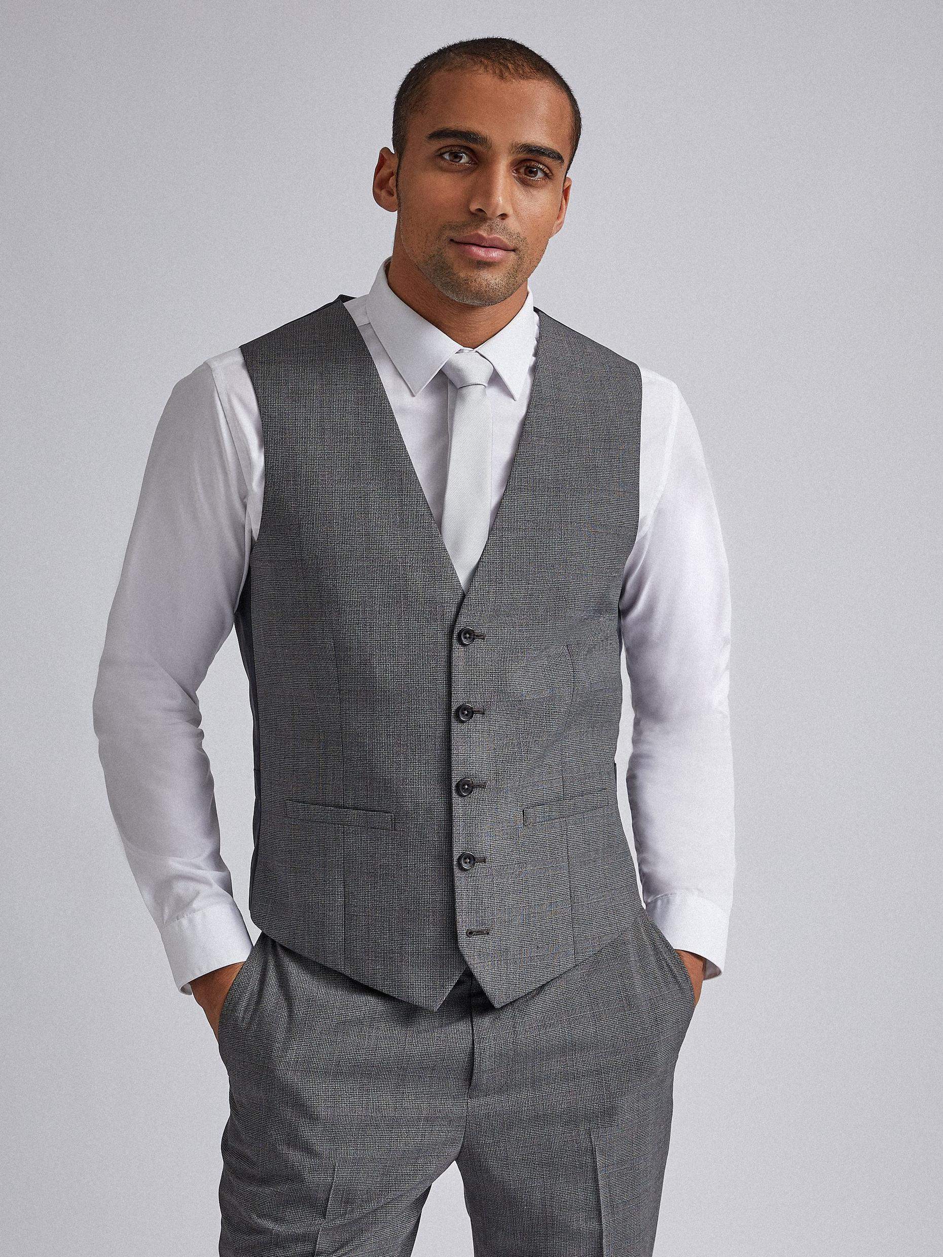 Grey Jaspe Check Tailored Fit Suit Waistcoat