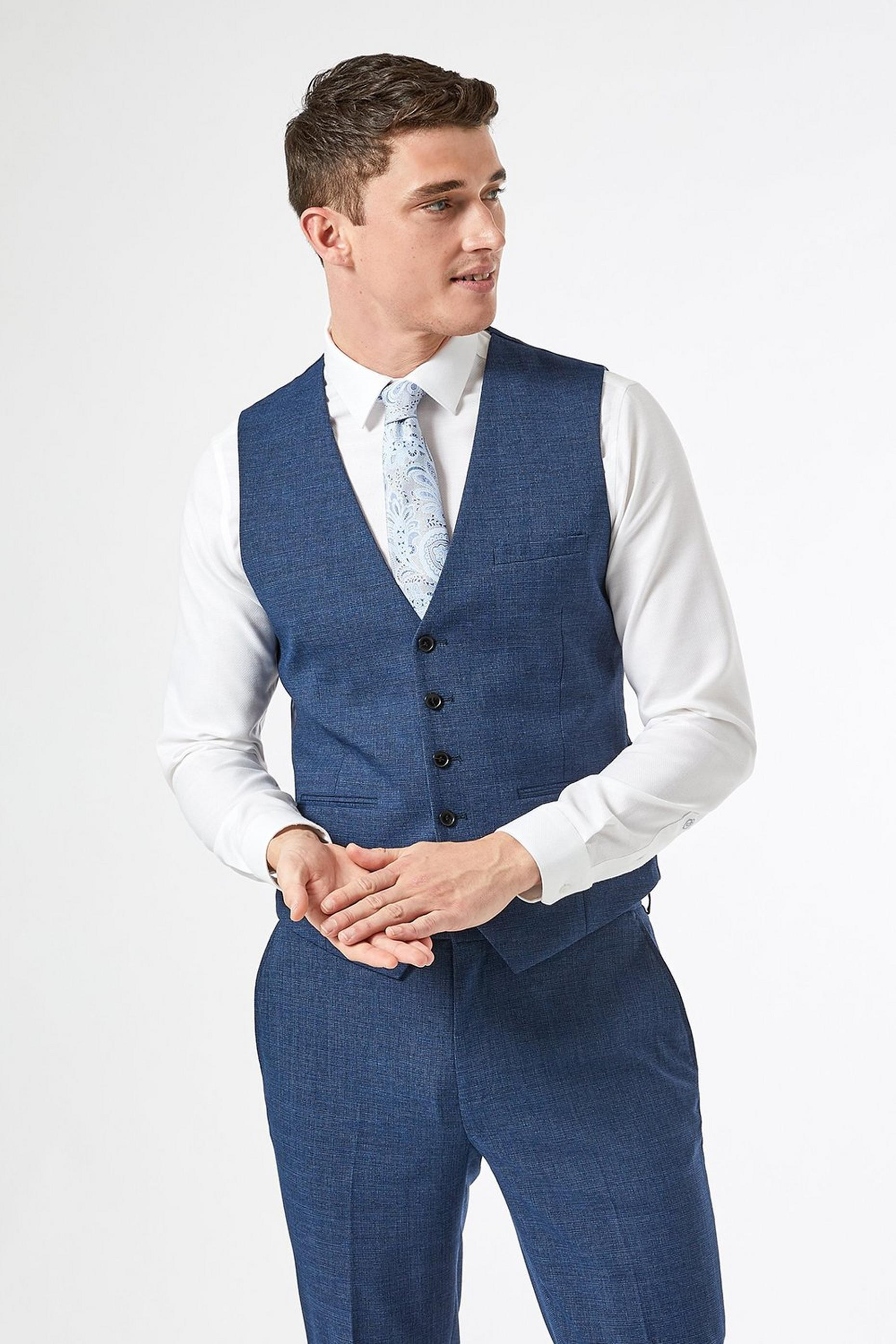Blue Texture End On End Slim Fit Waistcoat